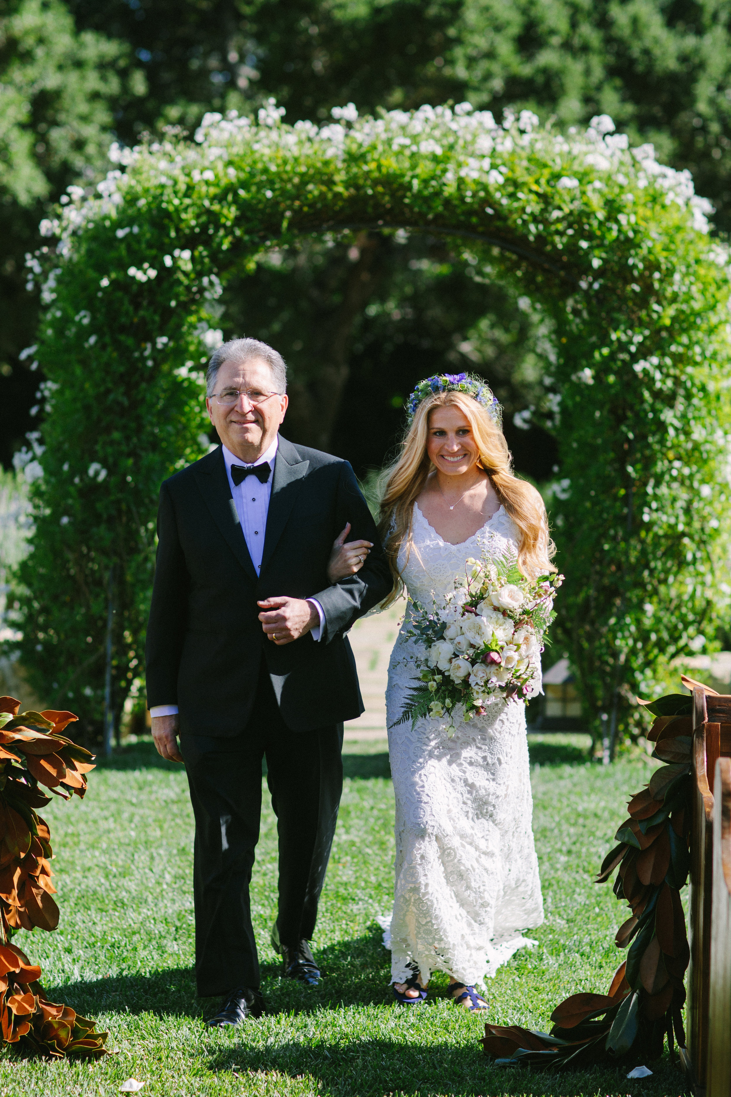 www.santabarbarawedding.com   San Ysidro Ranch   Imagine Events   Millay and Young Photo   Bride and Father walking down aisle