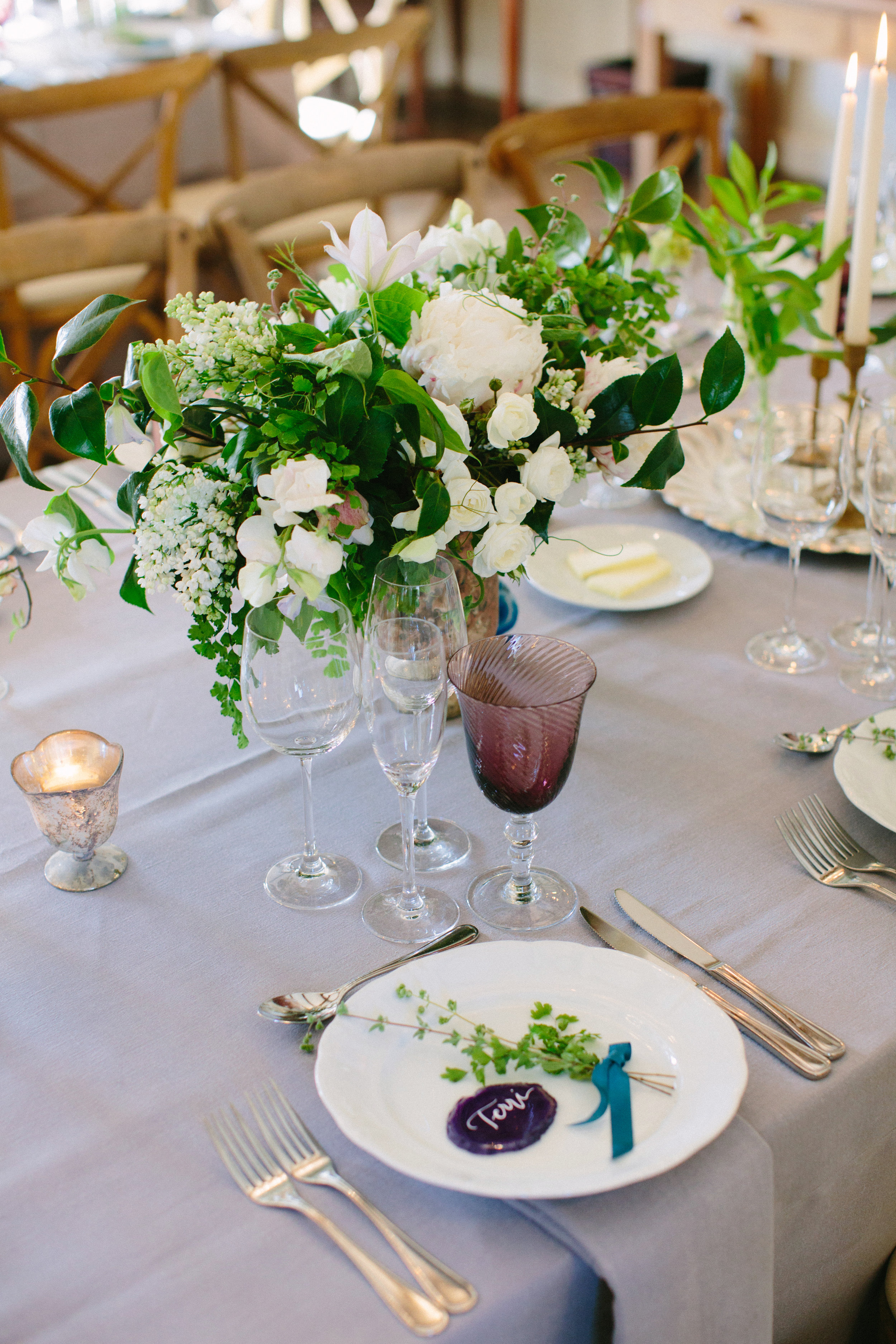 www.santabarbarawedding.com   San Ysidro Ranch   Imagine Events   Millay and Young Photo   Reception Table   Place Setting