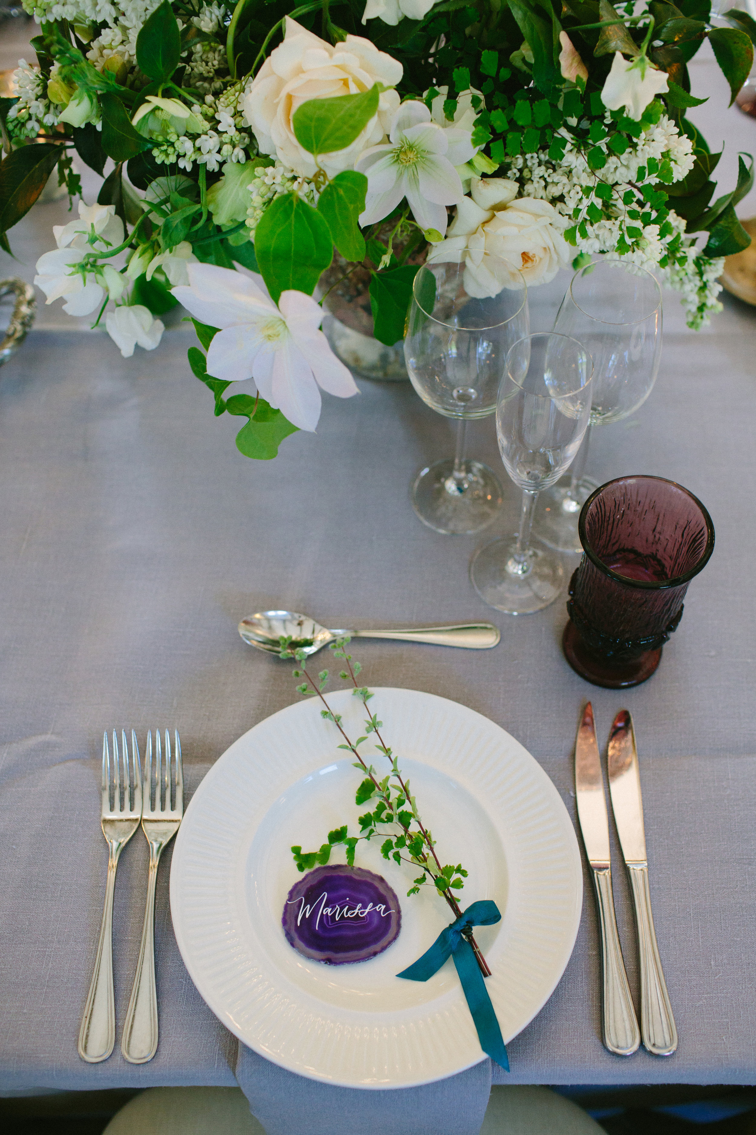 www.santabarbarawedding.com   San Ysidro Ranch   Imagine Events   Millay and Young Photo   Place Setting