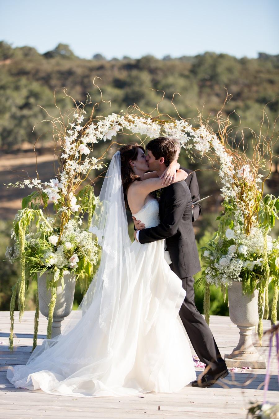 www.santabarbarawedding.com | Soigne Productions | Michael and Anna Costa | Zaca Creek Ranch | Ceremony | The Kiss