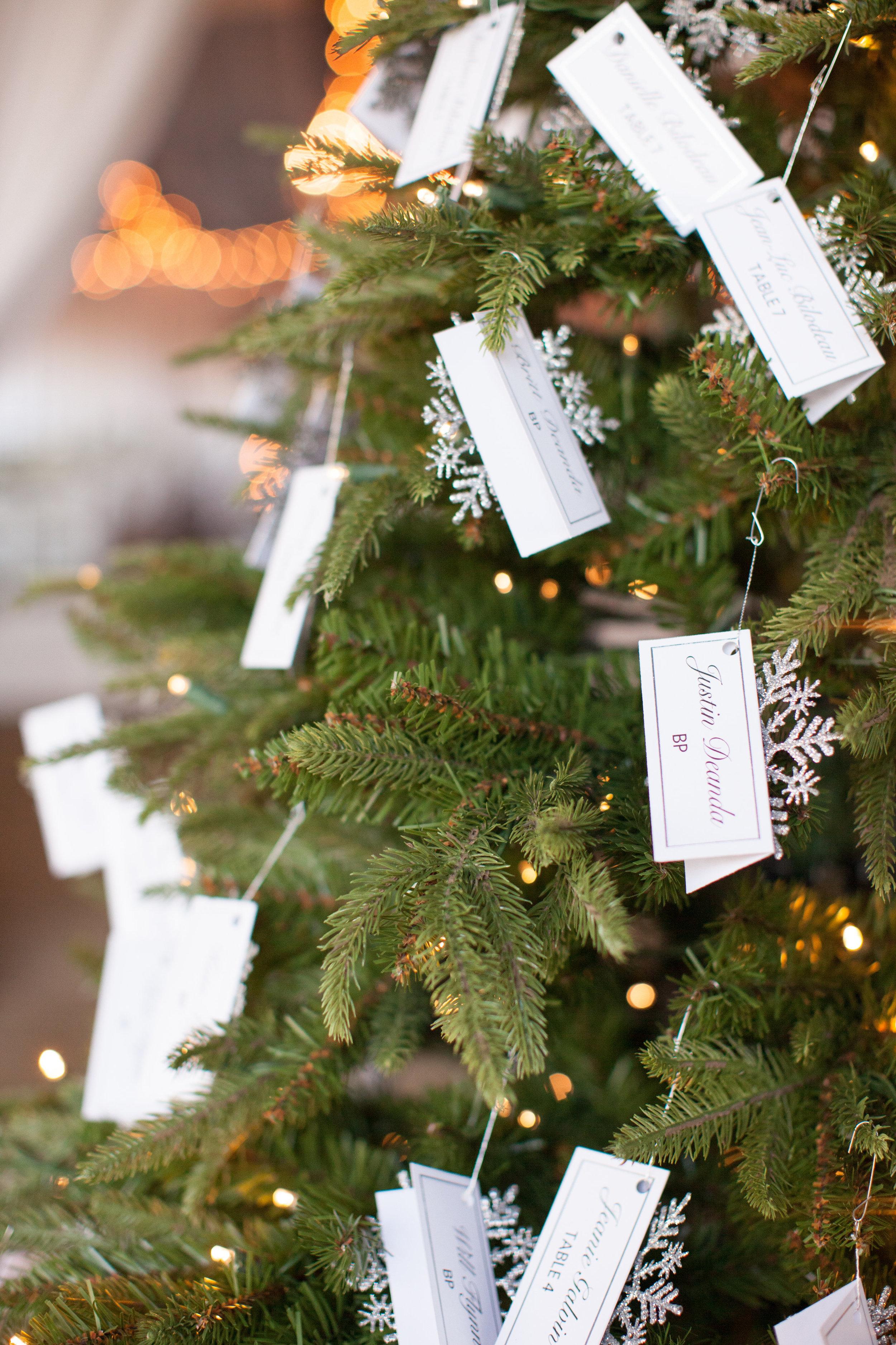 www.santabarbarawedding.com   Whispering Rose Ranch   Ann Johnson Events   Anna J Photo   Christmas Tree   Escort Cards