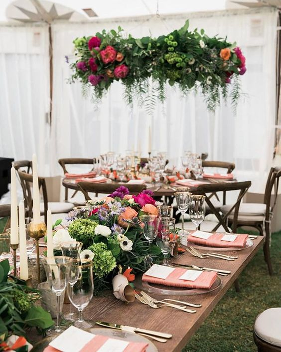 Santa Barbara Wedding Style | Hanging Centerpieces | 2019 Floral Trends