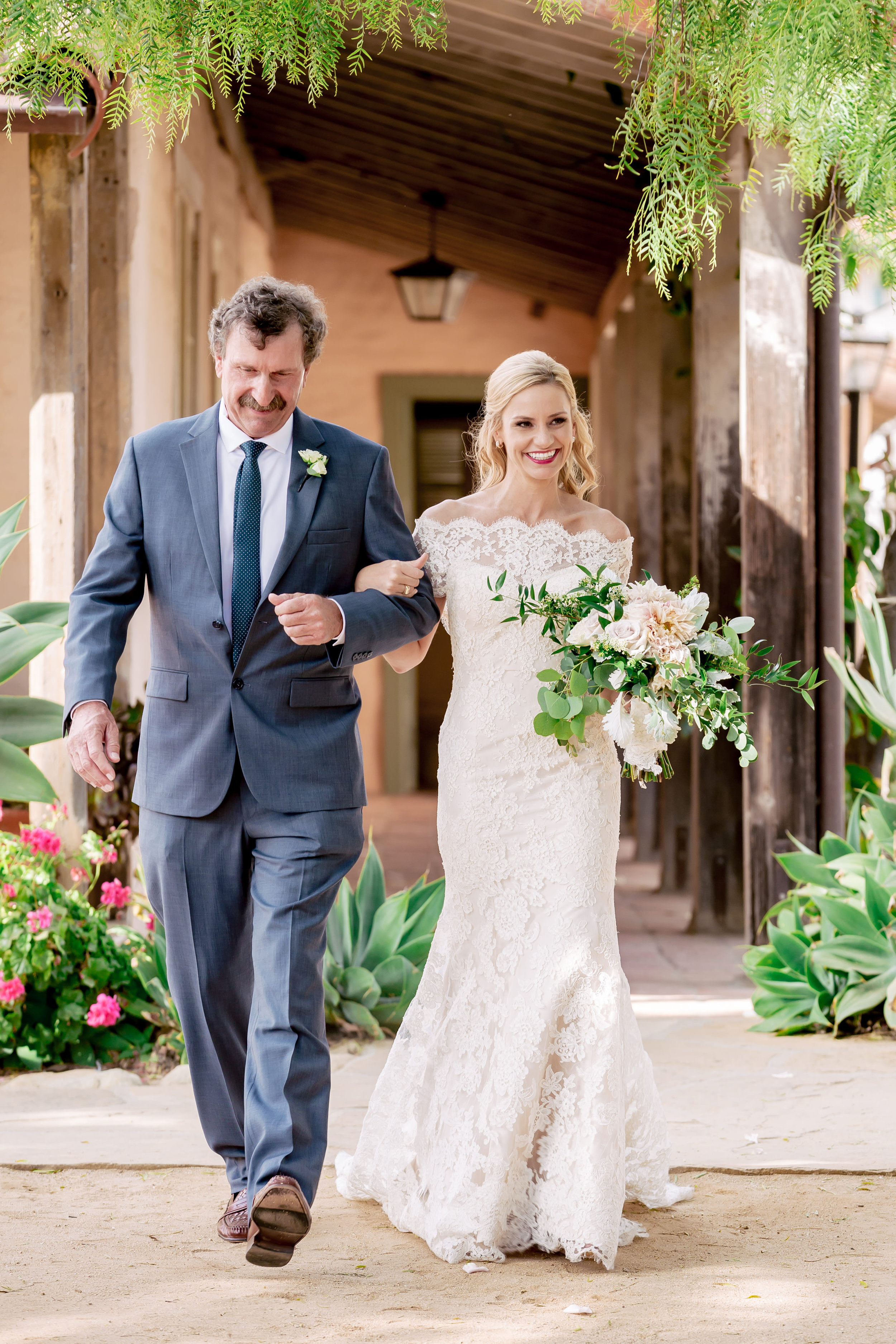 www.santabarbarawedding.com | Rewind Photography | Events by M and M | Santa Barbara Historical Museum | Bride and Father walking down aisle
