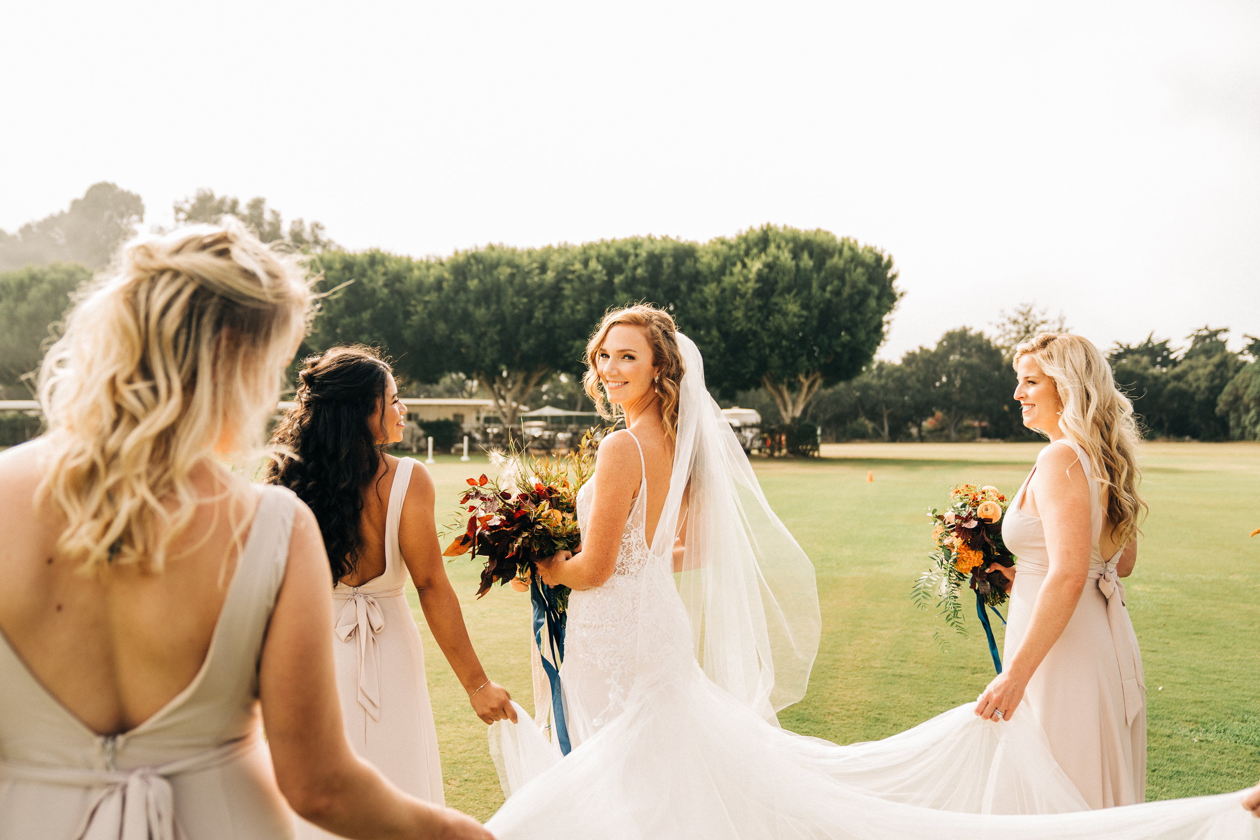 www.santabarbarawedding.com | Brandon Bibbins Photography | The Cottages at Polo Run | Christina Welch Floral | Bride Strolls with Bridesmaids