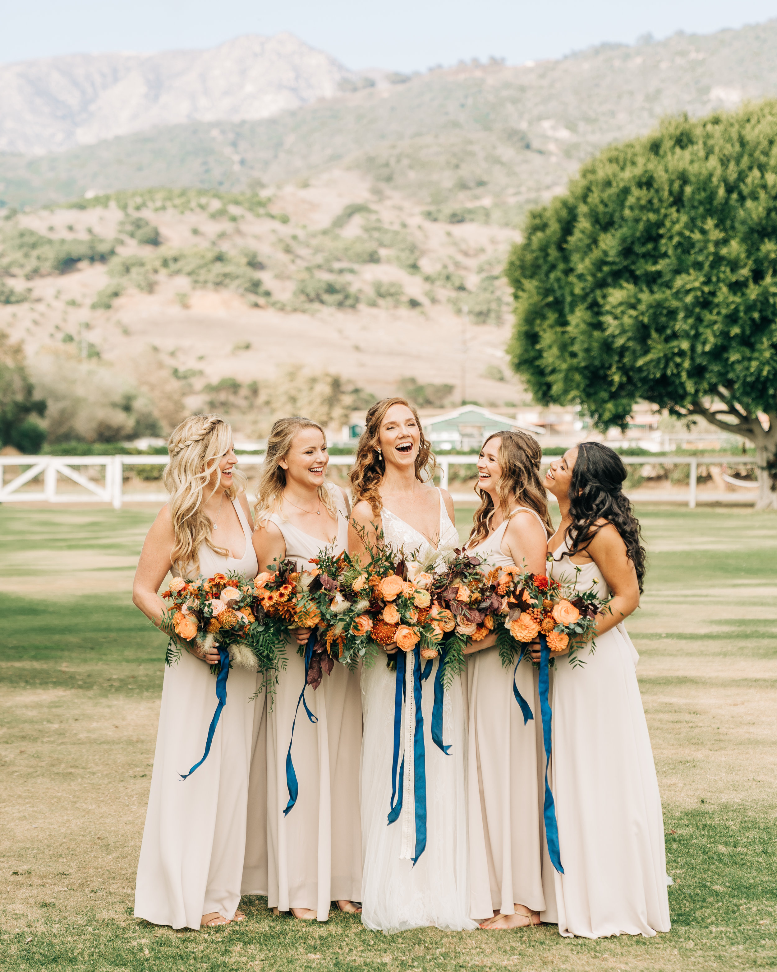 www.santabarbarawedding.com | Brandon Bibbins Photography | The Cottages at Polo Run | Christina Welch Floral | Bride Laughs with Bridesmaids