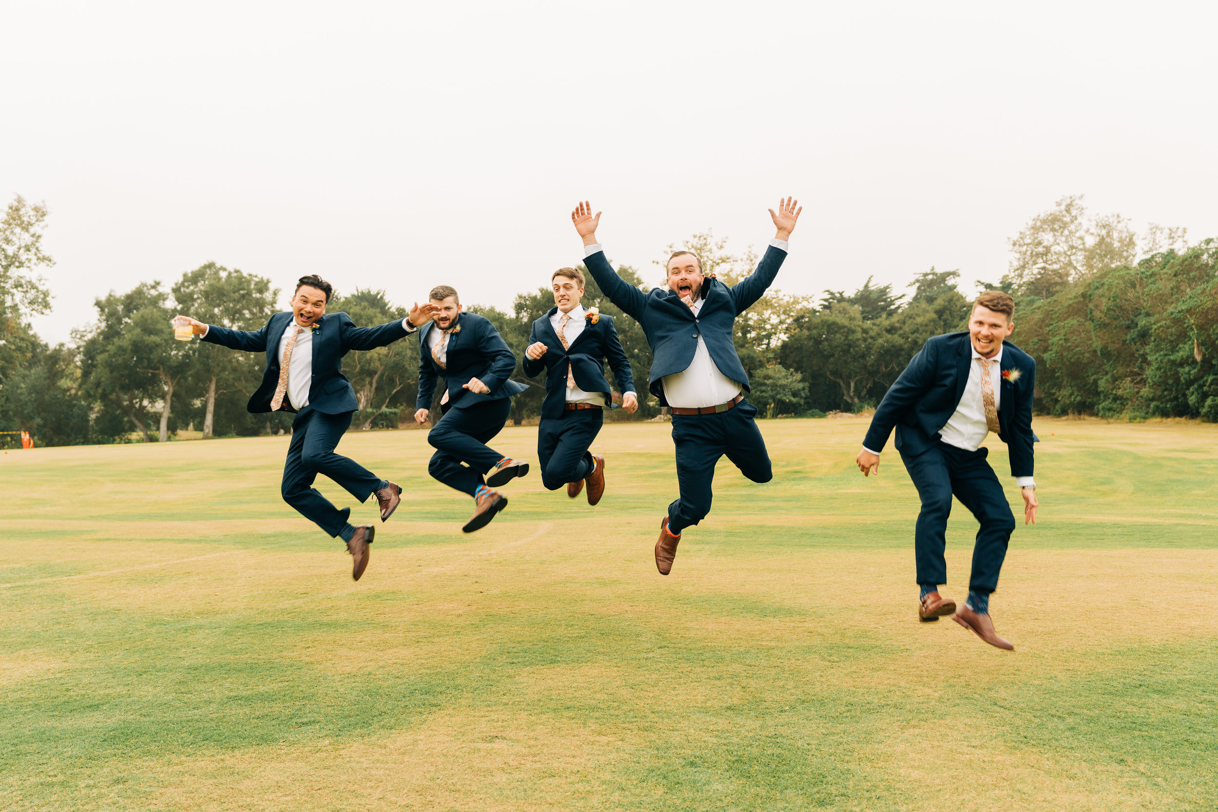 www.santabarbarawedding.com | Brandon Bibbins Photography | The Cottages at Polo Run | Groomsmen Jumping