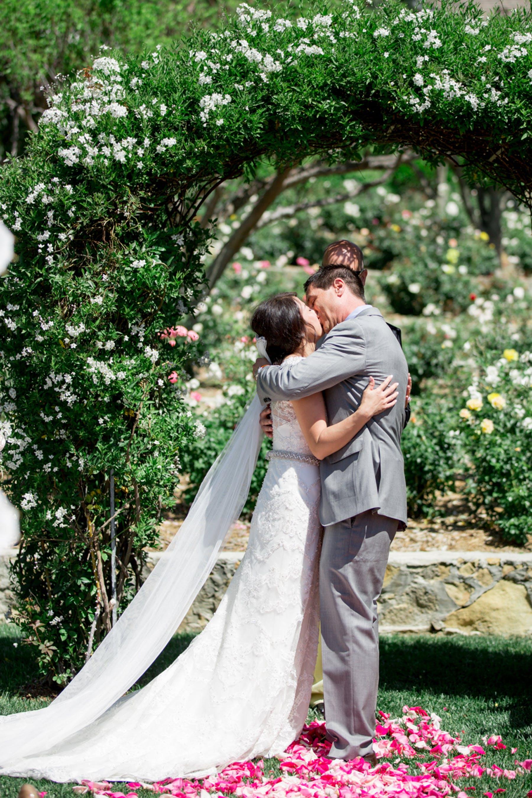 www.santabarbarawedding.com | Michael + Anna Costa Photography | San Ysidro Ranch | Twine Events | The Bride and Groom Share a Kiss