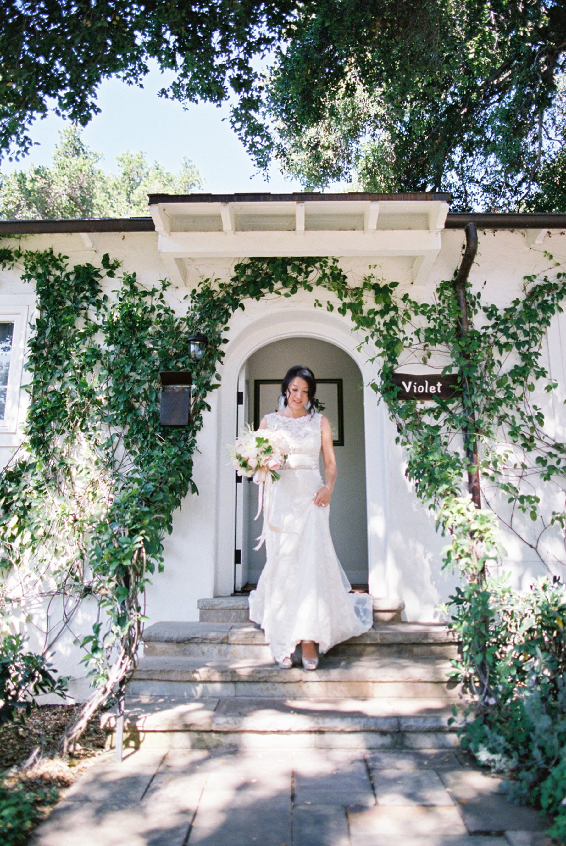 www.santabarbarawedding.com | Michael + Anna Costa Photography | San Ysidro Ranch | Twine Events | Maggie Sottero | Bride Comes Down the Stairs
