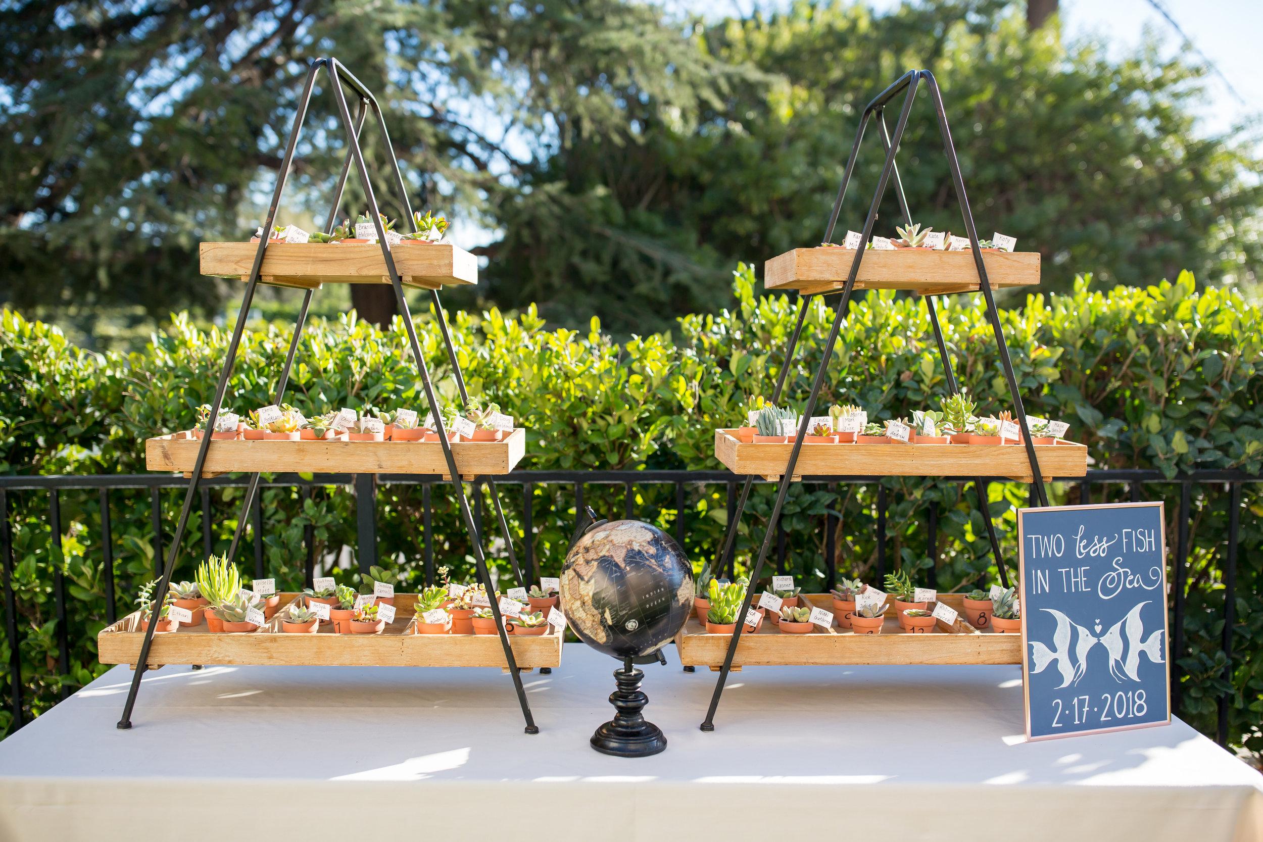 www.santabarbarawedding.com | Elizabeth Victoria Photography | Garden Street Academy | Knot Just Flowers | Ventura Rental Party Center | Small Plants Display