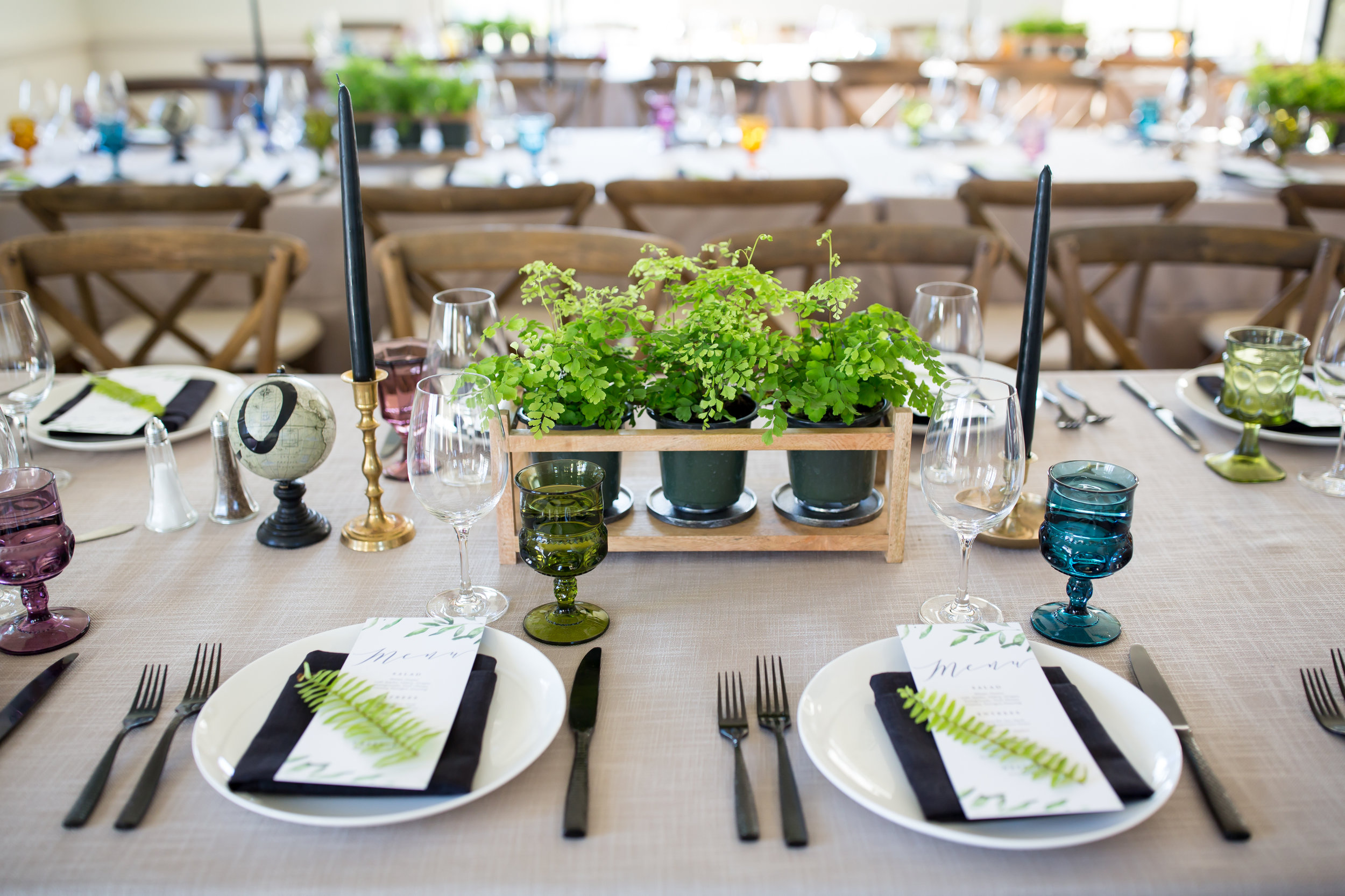 www.santabarbarawedding.com | Elizabeth Victoria Photography | Garden Street Academy | Knot Just Flowers | Ventura Rental Party Center | Dining Table Setup
