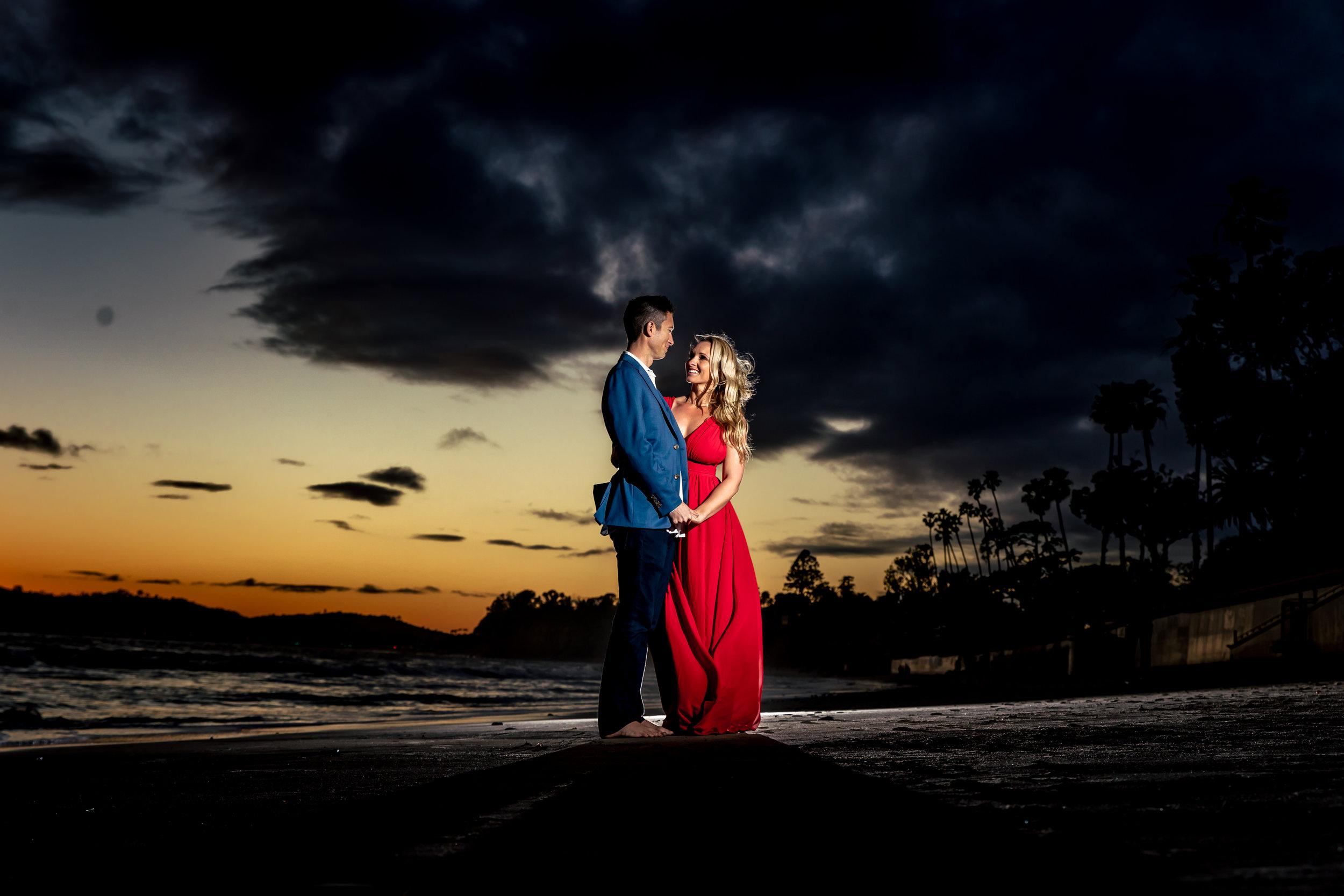 santabarbarawedding.com | Rewind Photography | Butterfly Beach | Engaged Couple on Beach at Dusk