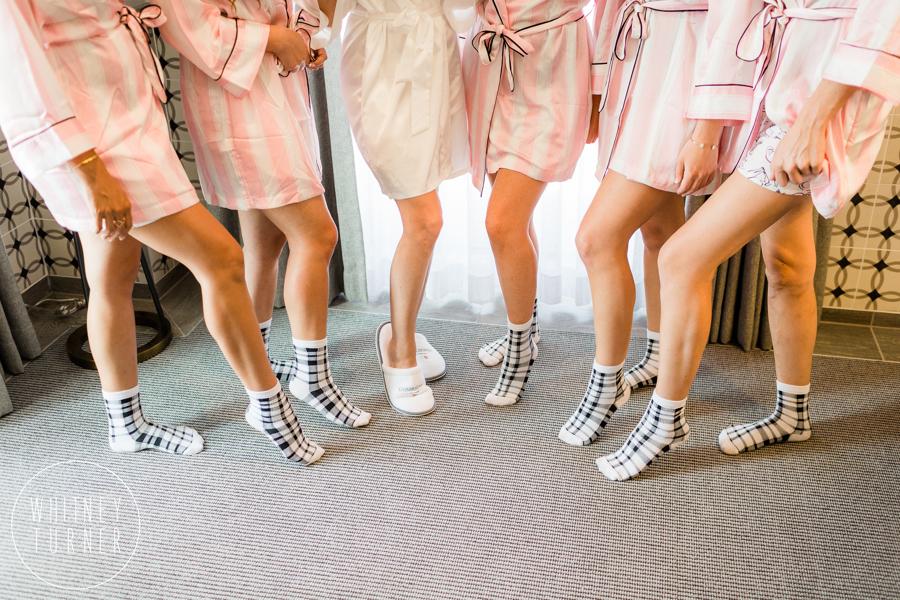 www.santabarbarawedding.com | Whitney Turner Photography | Santa Barbara Historical Museum | Immaginare Events | Fun Bridesmaid Socks