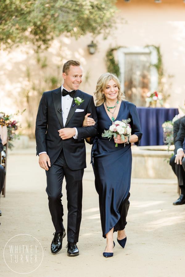 www.santabarbarawedding.com | Whitney Turner Photography | Santa Barbara Historical Museum | Immaginare Events | Cody Floral Design | Mom Walks Groom Down Aisle