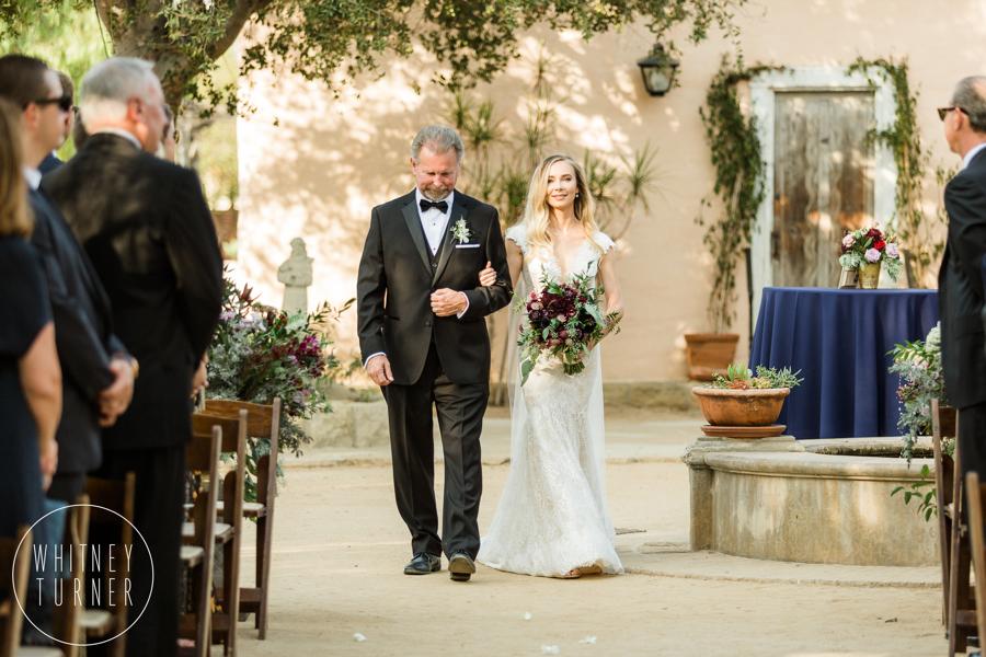 www.santabarbarawedding.com | Whitney Turner Photography | Santa Barbara Historical Museum | Immaginare Events | Cody Floral Design | Dad Walks Daughter Down Aisle