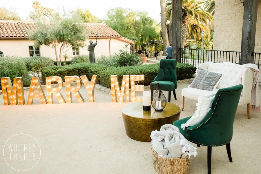 www.santabarbarawedding.com | Whitney Turner Photography | Santa Barbara Historical Museum | Immaginare Events | Bella Vista Designs | Marry Me Sign