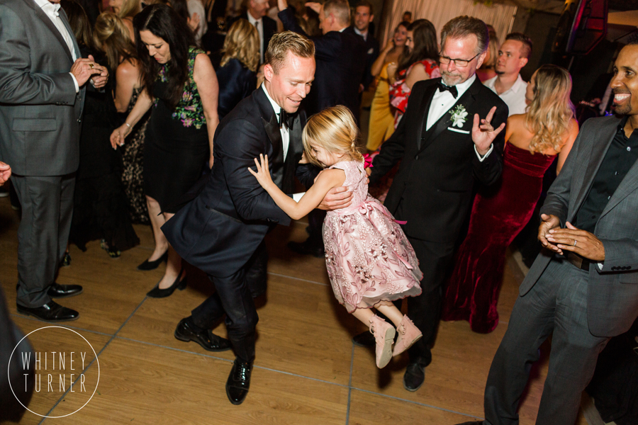 www.santabarbarawedding.com | Whitney Turner Photography | Santa Barbara Historical Museum | Immaginare Events | Groom Dances with Little Girl
