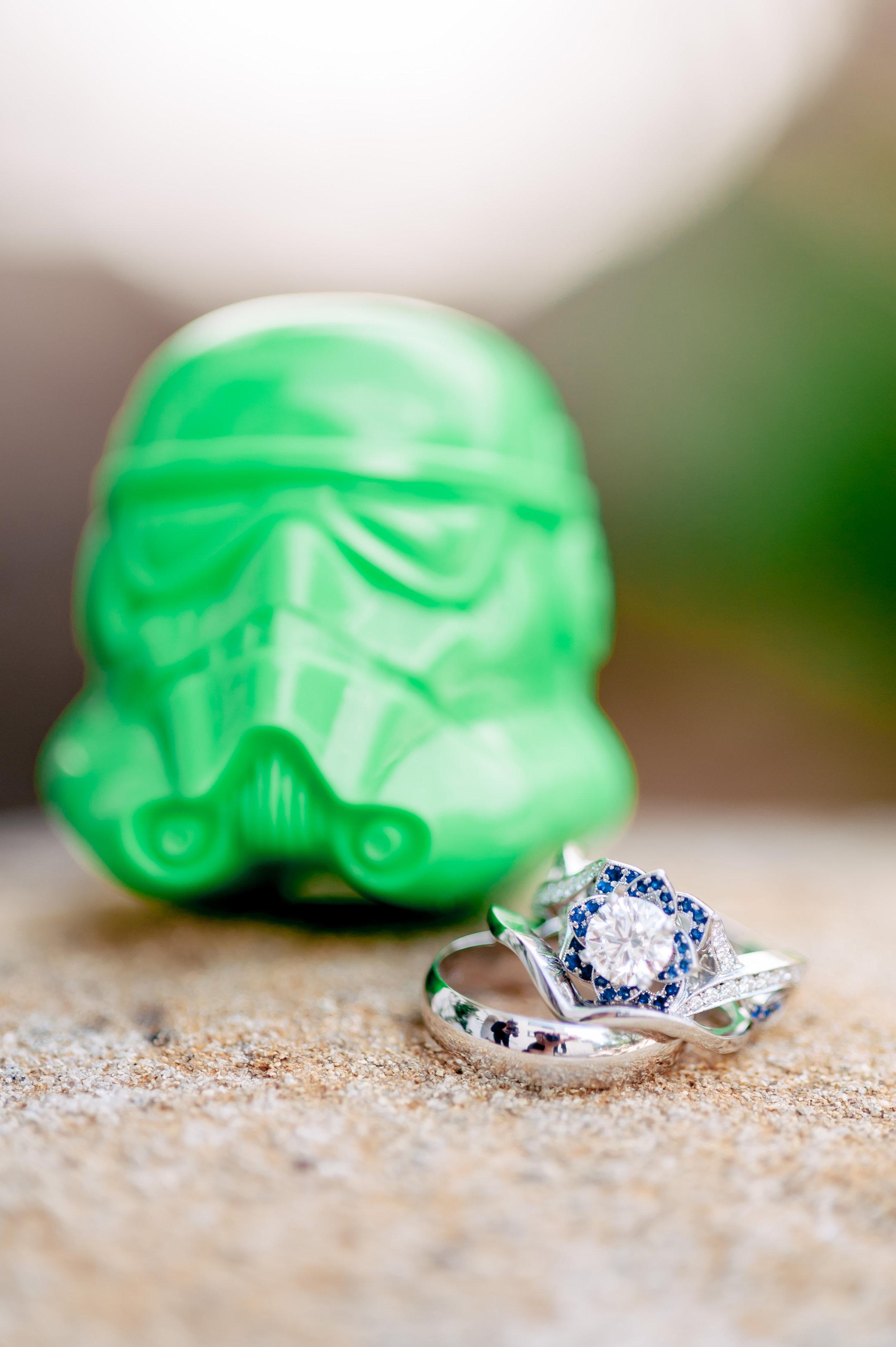 www.santabarbarawedding.com | Rewind Photography | Rockwood Women's Club | Burlap & Bordeaux | Wedding Rings and Storm Trooper Head