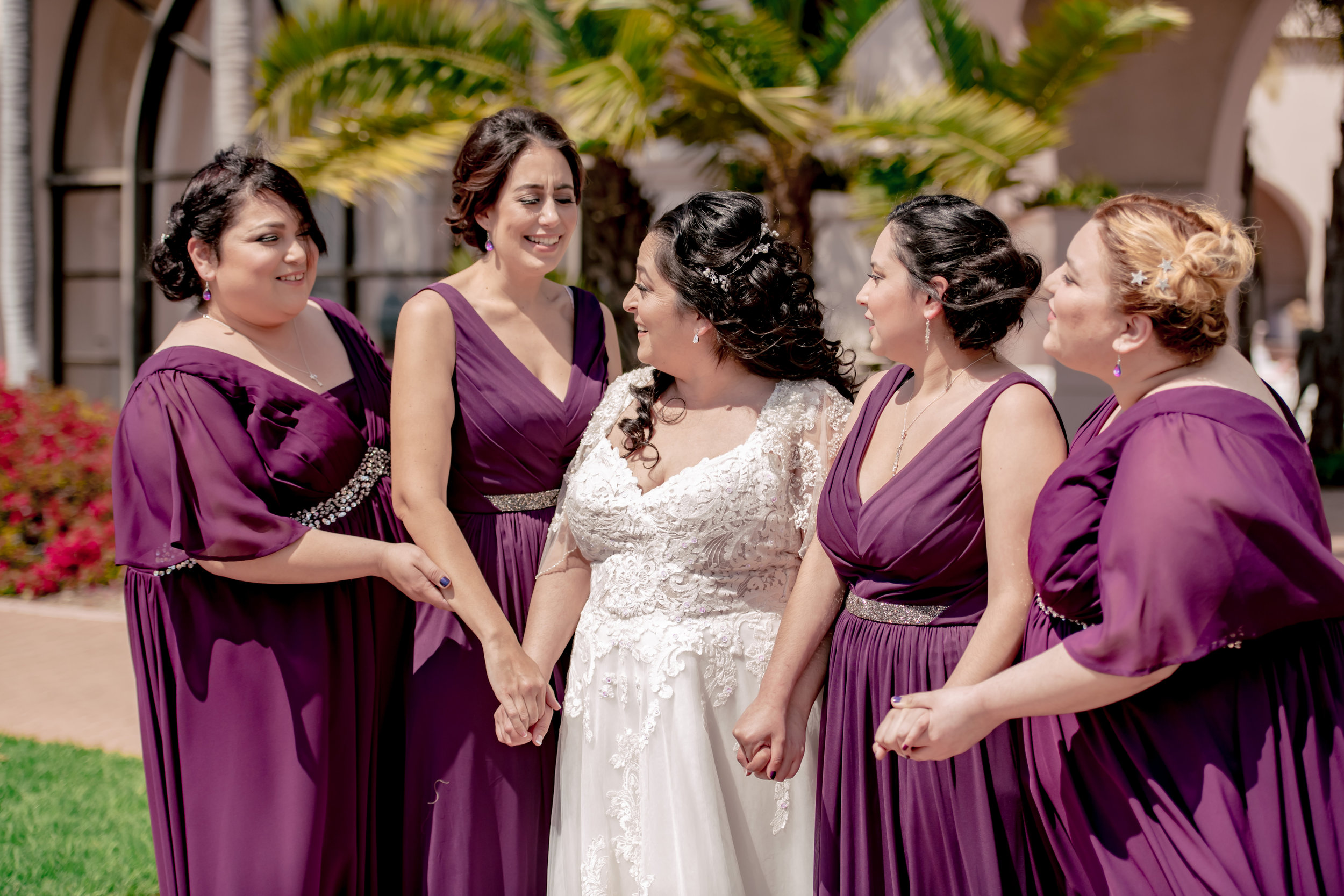 www.santabarbarawedding.com | Rewind Photography | Rockwood Women's Club | Burlap & Bordeaux | Kiss the Bride | Bride and Bridesmaids