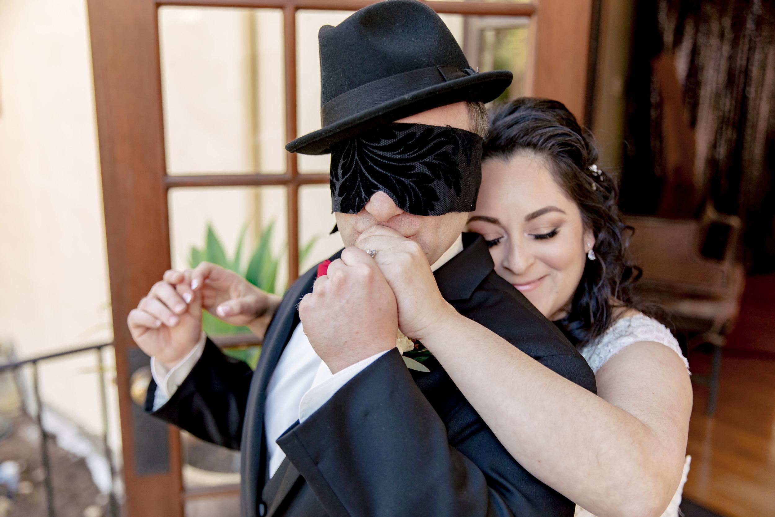 www.santabarbarawedding.com | Rewind Photography | Rockwood Women's Club | Burlap & Bordeaux | Dream America Linens | Bride Surprises the Groom