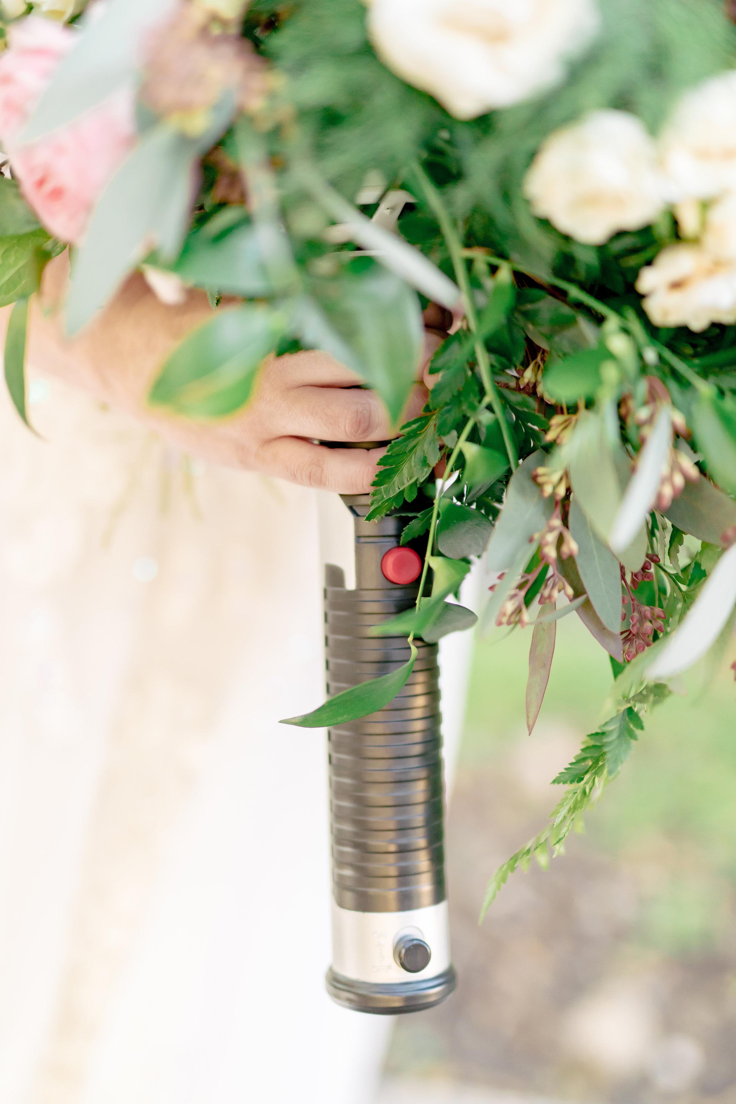www.santabarbarawedding.com | Rewind Photography | Rockwood Women's Club | Burlap & Bordeaux | Bride's Light Saber Bouquet