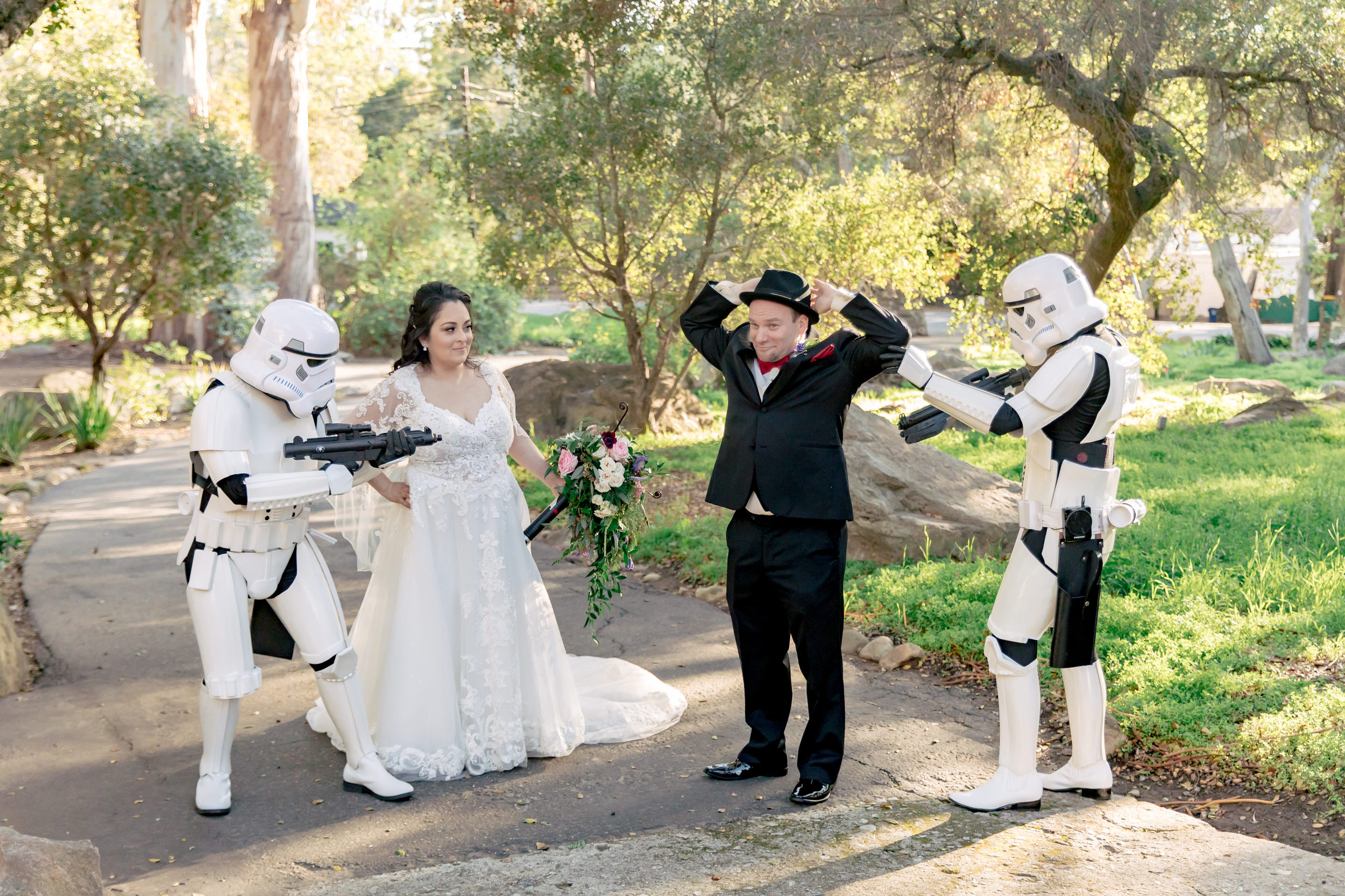 www.santabarbarawedding.com | Rewind Photography | Rockwood Women's Club | Burlap & Bordeaux | Kiss the Bride | Storm Troopers Take the Groom