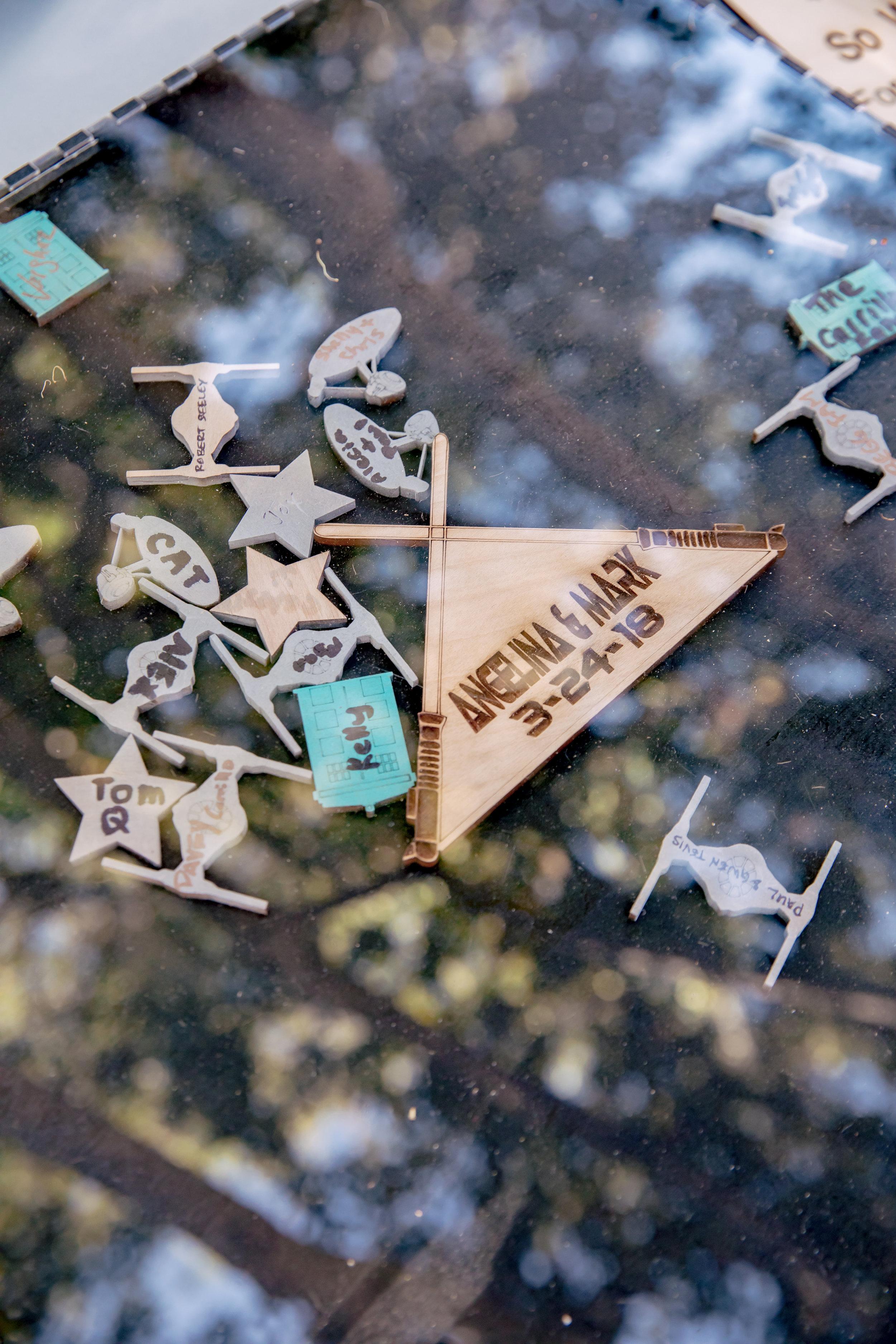 www.santabarbarawedding.com | Rewind Photography | Rockwood Women's Club | Burlap & Bordeaux | Star Wars Wood Pieces