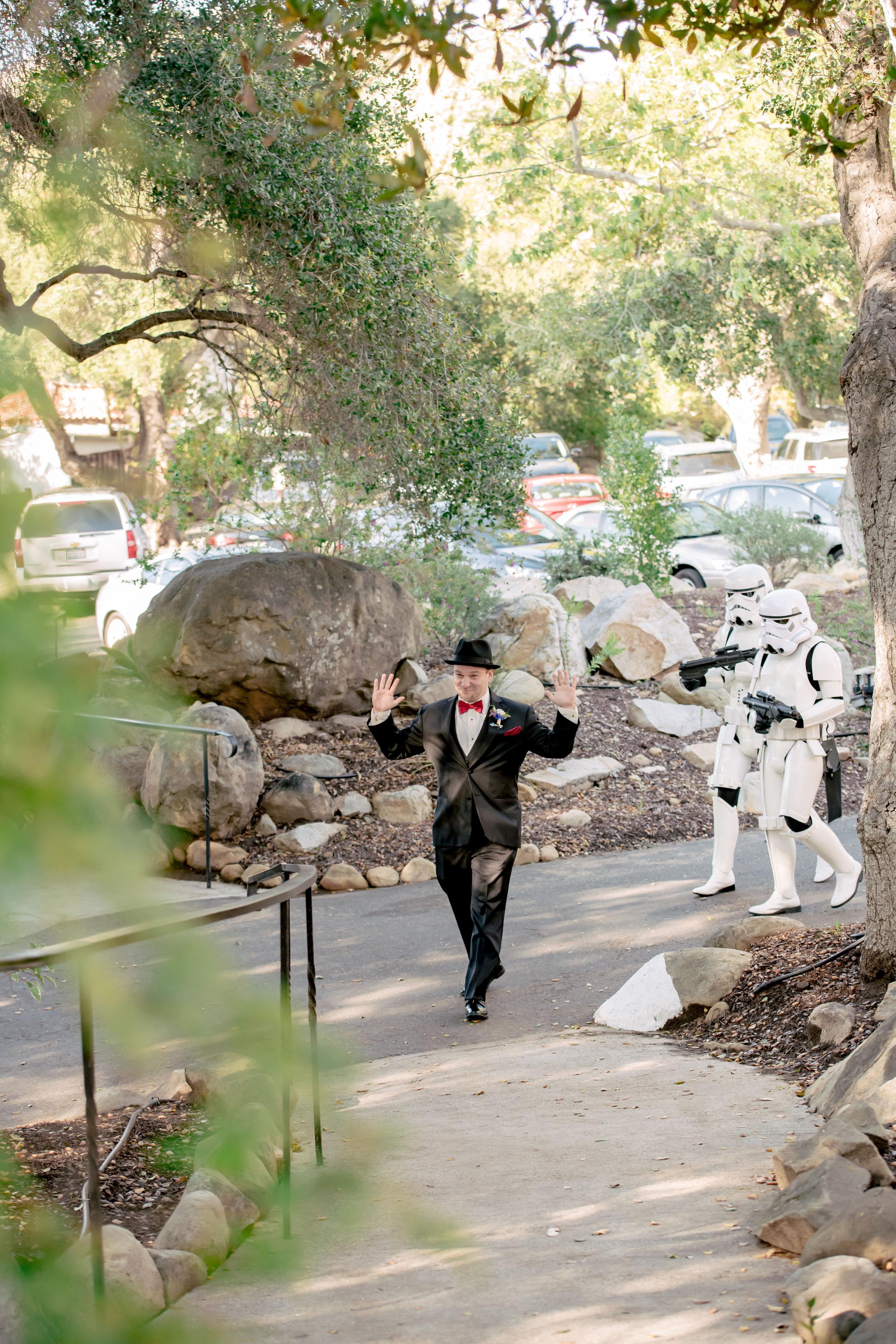 www.santabarbarawedding.com | Rewind Photography | Rockwood Women's Club | Burlap & Bordeaux | Storm Troopers Lead Groom Into Ceremony