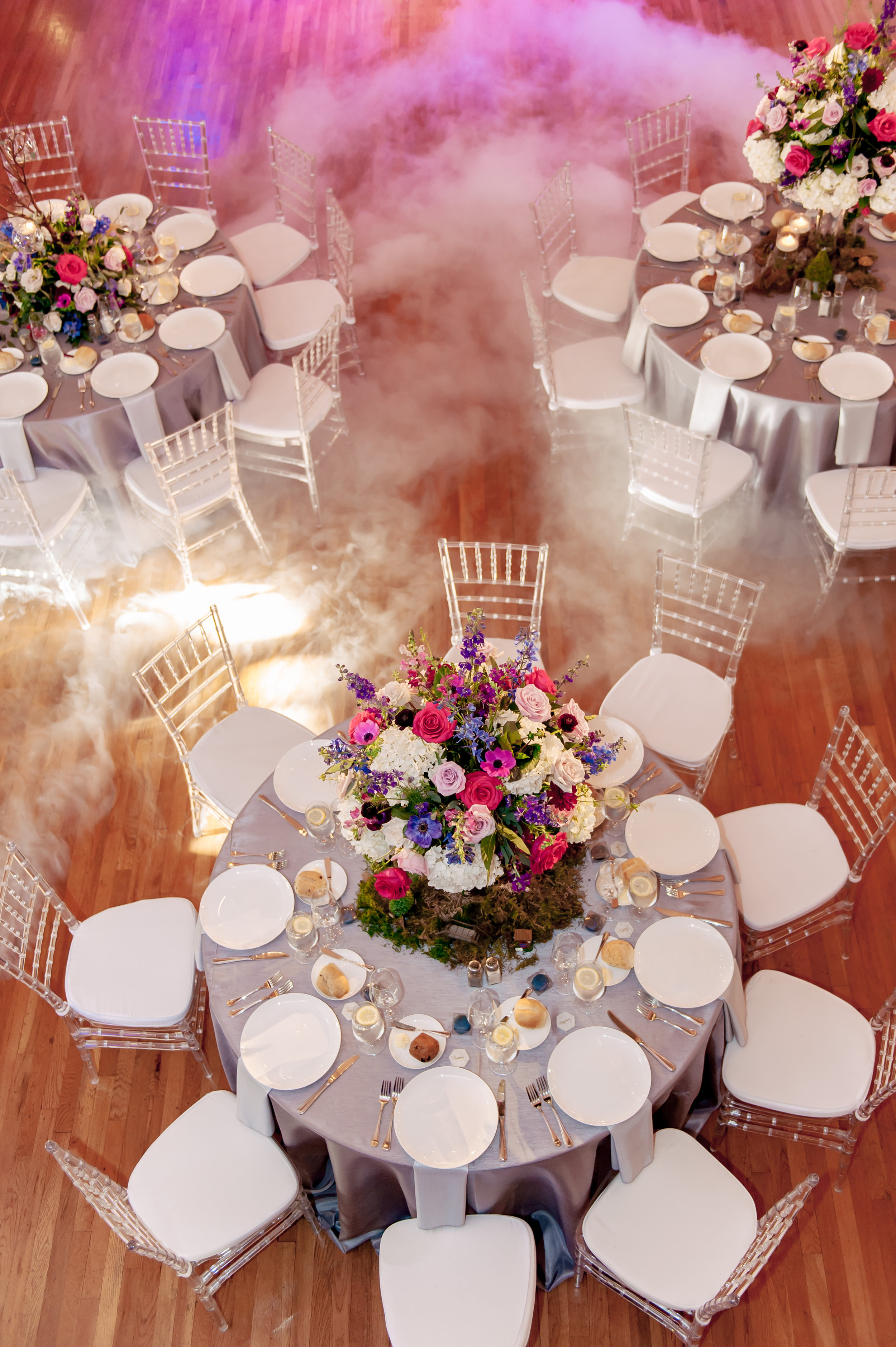 www.santabarbarawedding.com | Rewind Photography | Rockwood Women's Club | Burlap & Bordeaux | Amigo Party Rental | Space-Inspired Reception Tables