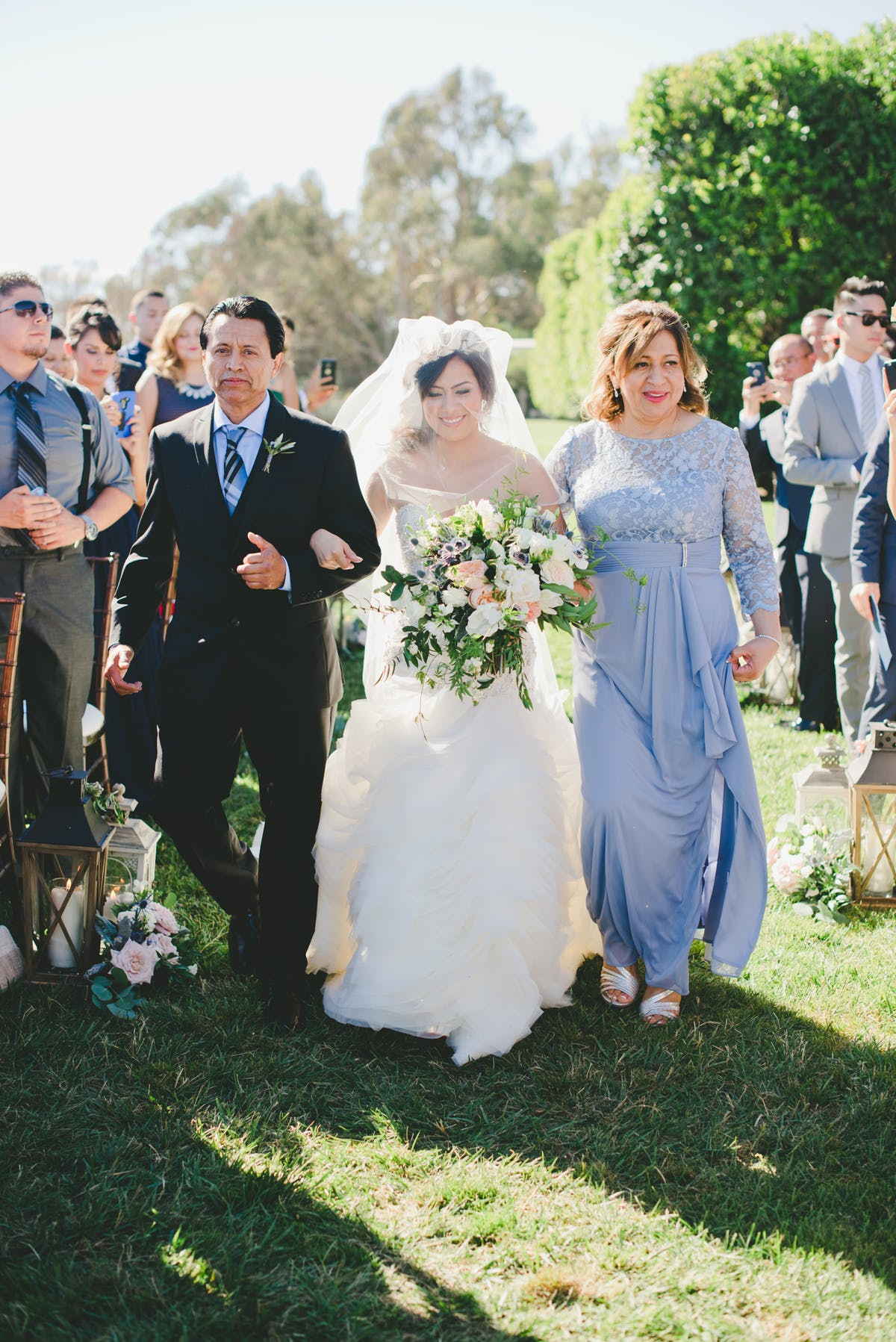 www.santabarbarawedding.com | One Love Photography | Bacara Resort & Spa | Alegria by Design | Enchanted Garden Floral Design | Mother and Father Walk Bride Down The Aisle