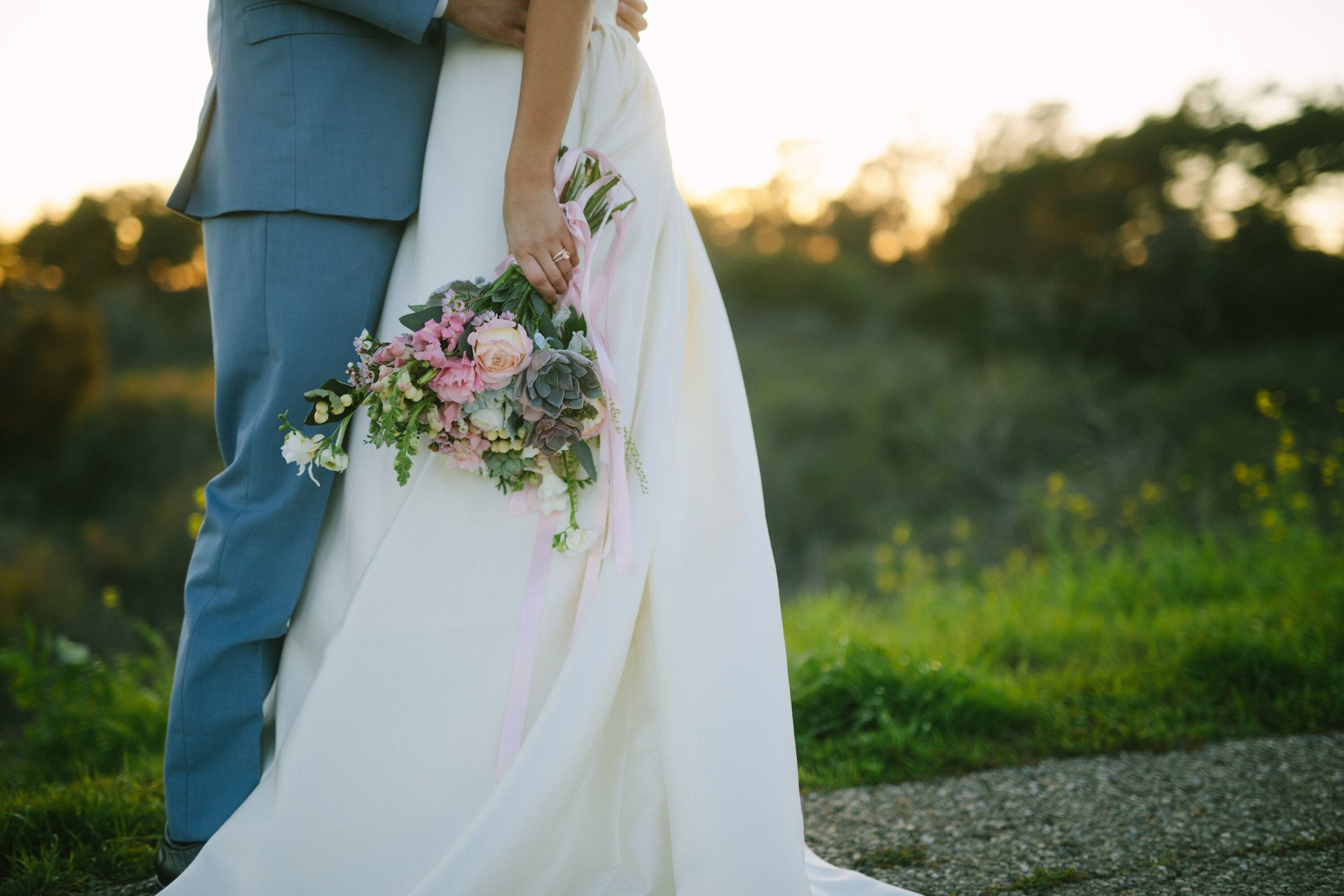 www.santabarbarawedding.com | Photographer: Patrick Ang | Venue: Rancho La Patera & Stow House | Wedding Planner: Elyse Rowen of Elyse Events | Bride and Groom with Bouquet