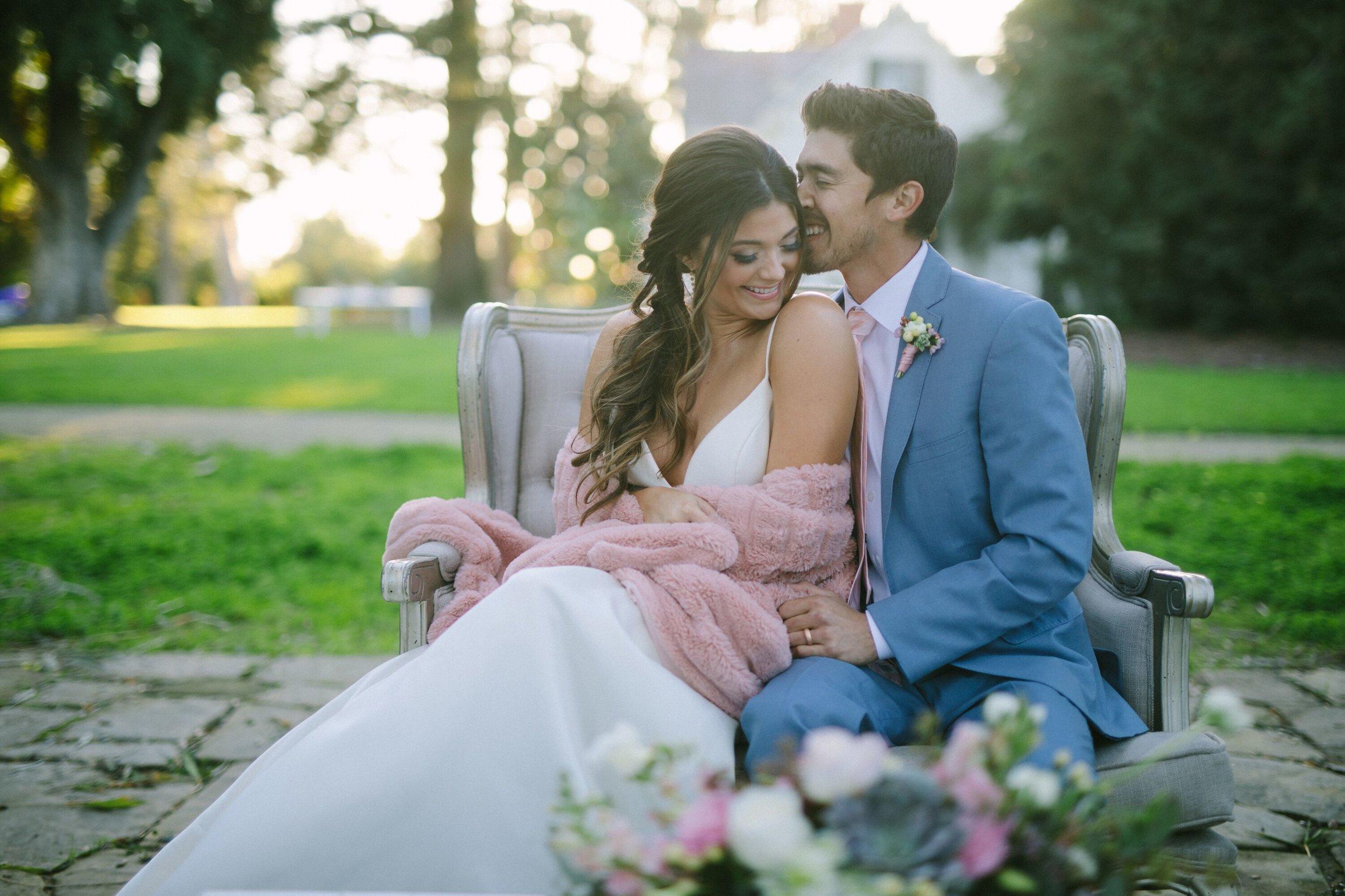 www.santabarbarawedding.com | Photographer: Patrick Ang | Venue: Rancho La Patera & Stow House | Wedding Planner: Elyse Rowen of Elyse Events | Bride and Groom Cuddle