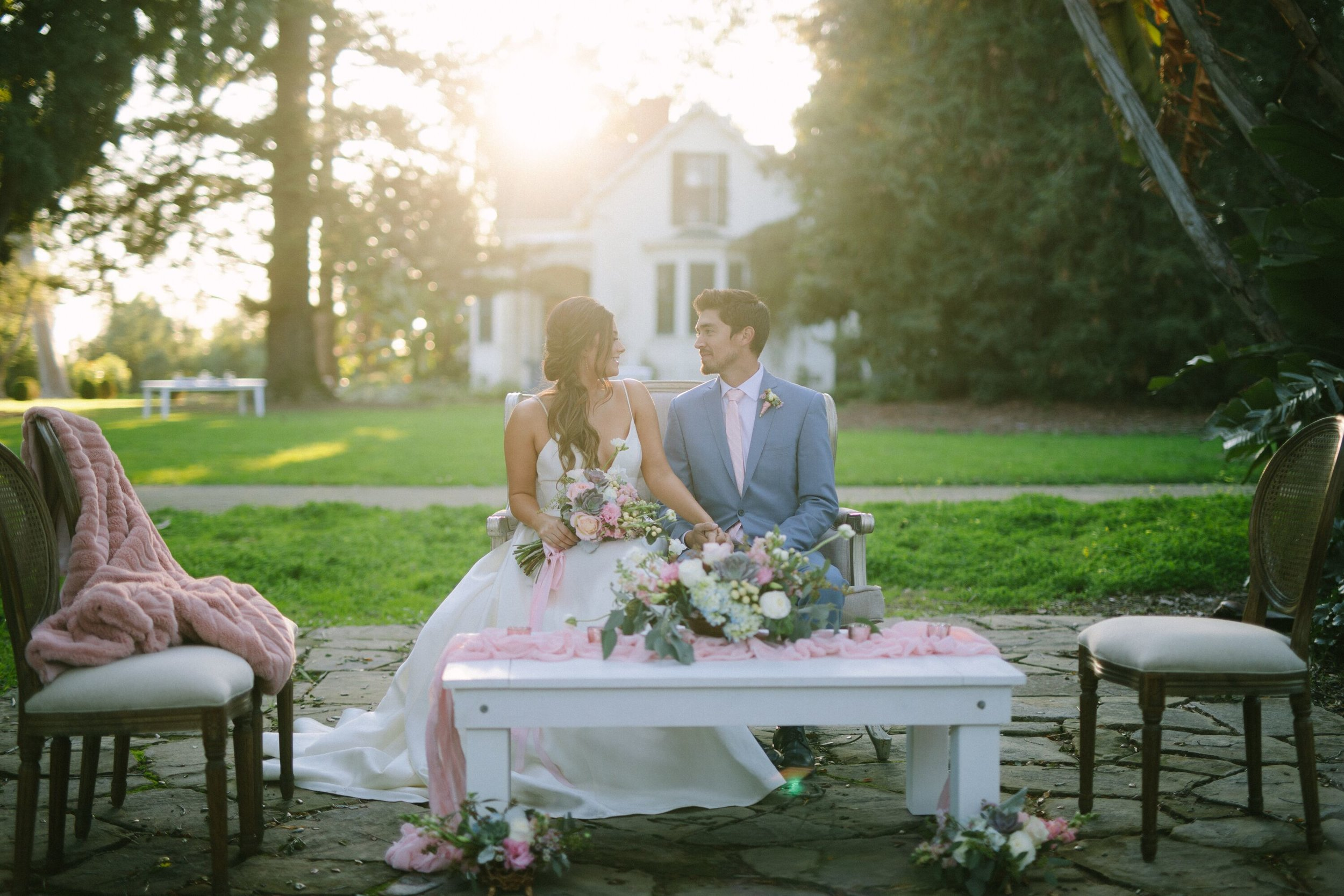 www.santabarbarawedding.com | Photographer: Patrick Ang | Venue: Rancho La Patera & Stow House | Wedding Planner: Elyse Rowen of Elyse Events | Bride and Groom Seated