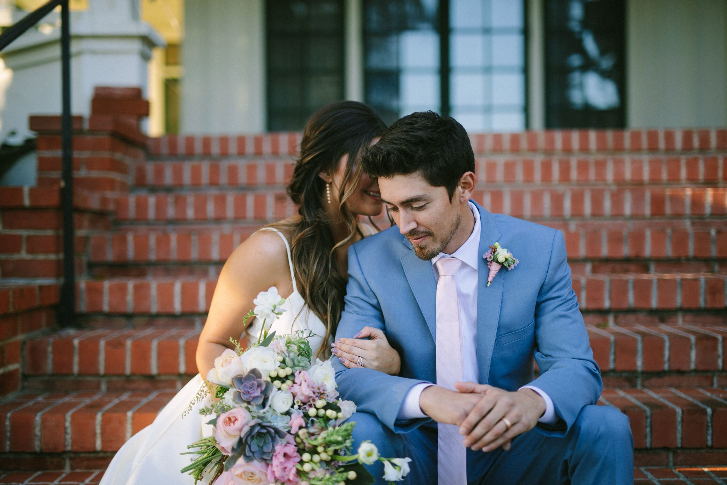 www.santabarbarawedding.com | Photographer: Patrick Ang | Venue: Rancho La Patera & Stow House | Wedding Planner: Elyse Rowen of Elyse Events | Bride and Groom on Reception Steps