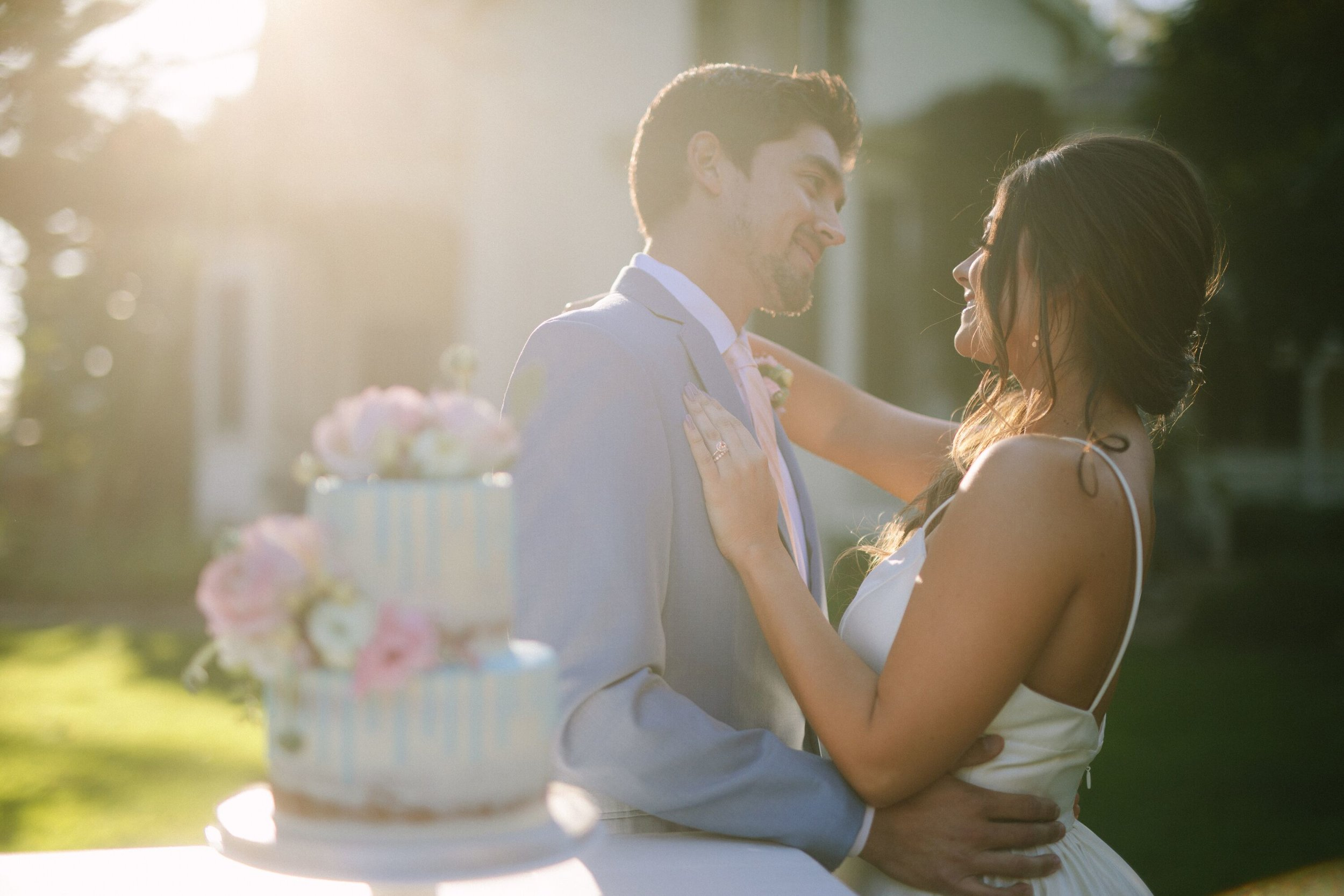 www.santabarbarawedding.com | Photographer: Patrick Ang | Venue: Rancho La Patera & Stow House | Wedding Planner: Elyse Rowen of Elyse Events | Bride and Groom with Wedding Cake