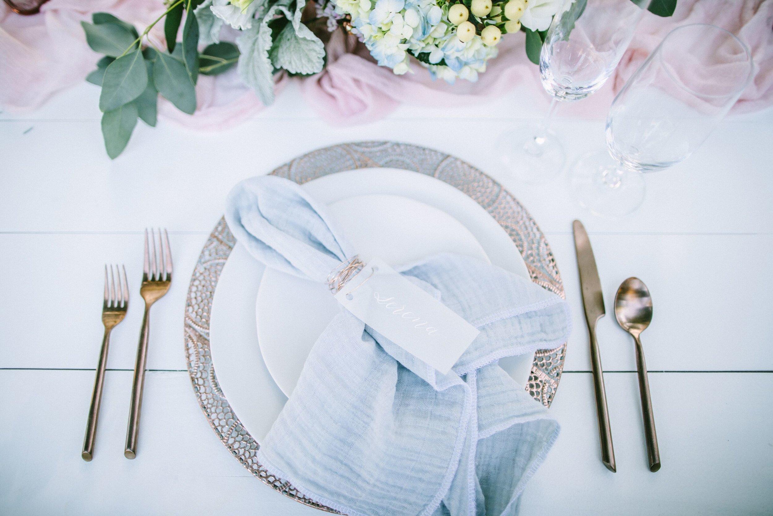 www.santabarbarawedding.com | Photographer: Patrick Ang | Venue: Rancho La Patera & Stow House | Wedding Planner: Elyse Rowen of Elyse Events | Place Setting