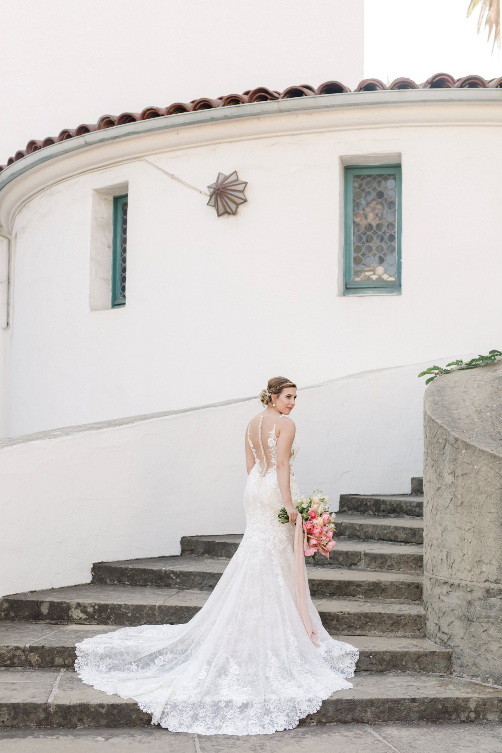 www.santabarbarawedding.com | Anna Delores Photography | Kimpton Canary Hotel | Onyx + Redwood | Martina Liana Bridal | Bride Poses on Stairs