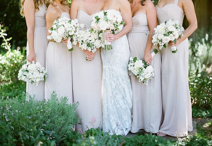 www.santabarbarawedding.com | Kristen Beinke | San Ysidro Ranch | Alexandra Kolendrianos | TOAST | Amsale | Bridesmaids in Light Pink with Bouquets
