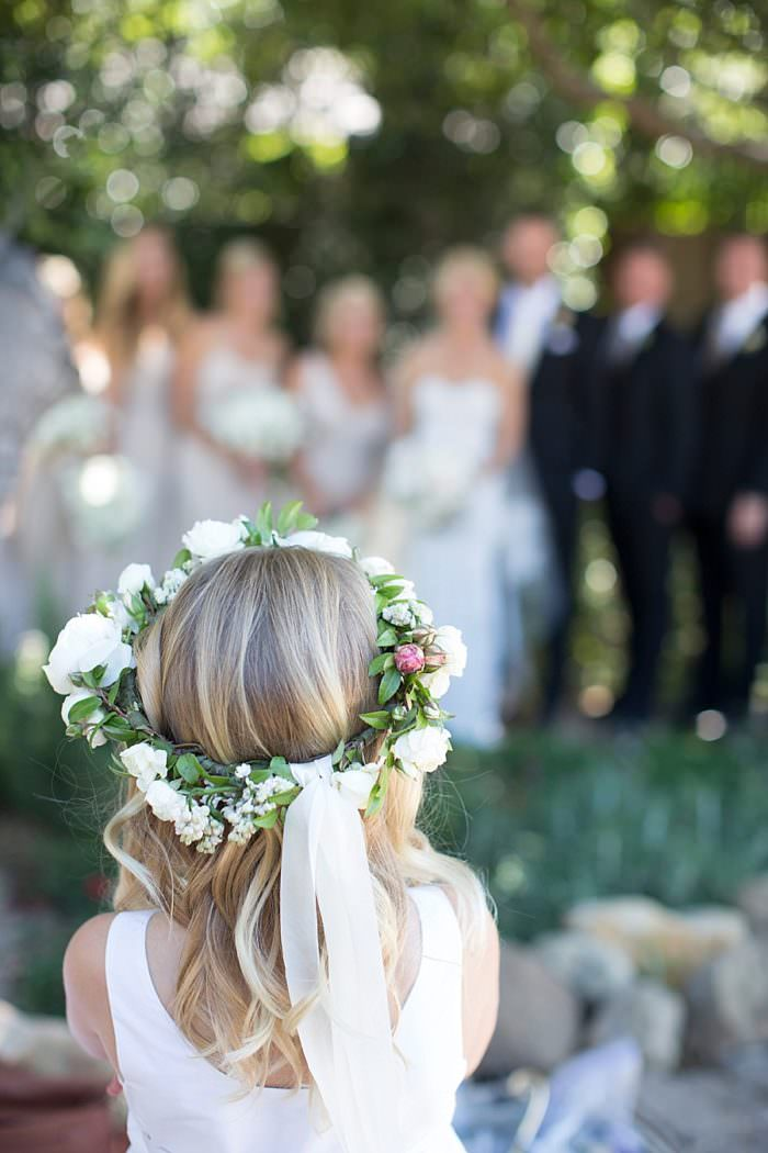 www.santabarbarawedding.com | Kristen Beinke | San Ysidro Ranch | Alexandra Kolendrianos | TOAST | Flower Girl's Crown