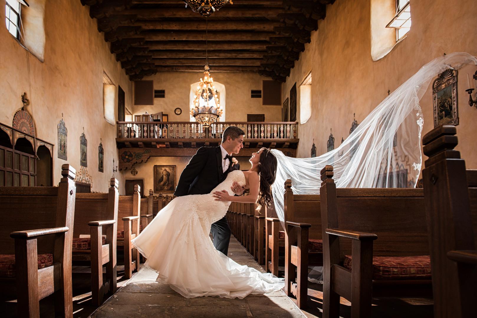 www.santabarbarawedding.com   The Big Affair   Our Lady of Mount Carmel   Bride and Groom