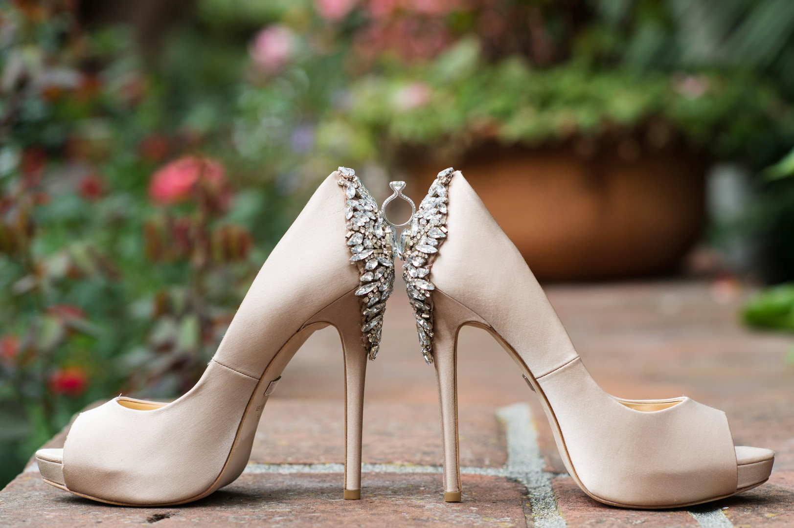www.santabarbarawedding.com   The Big Affair   Four Seasons The Biltmore Santa Barbara   Bride's Shoes and Engagement Ring