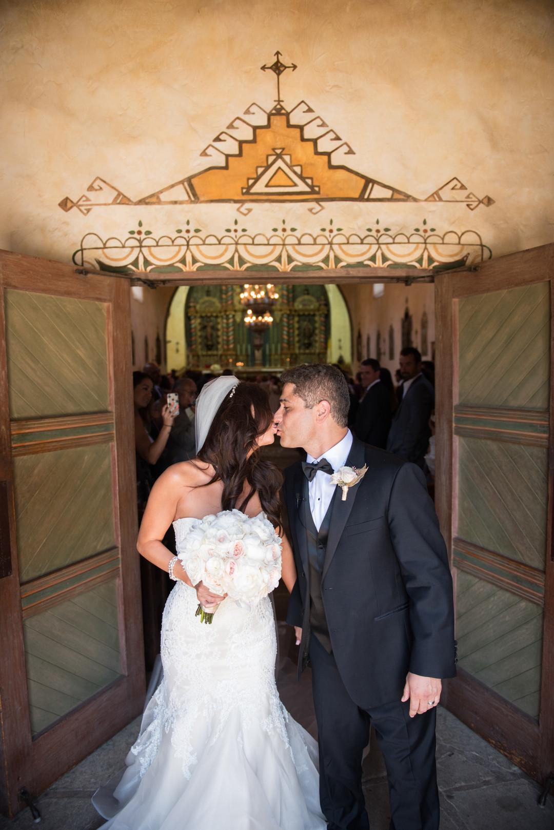 www.santabarbarawedding.com   The Big Affair   Our Lady of Mount Carmel   Asiel Designs   Bride and Groom