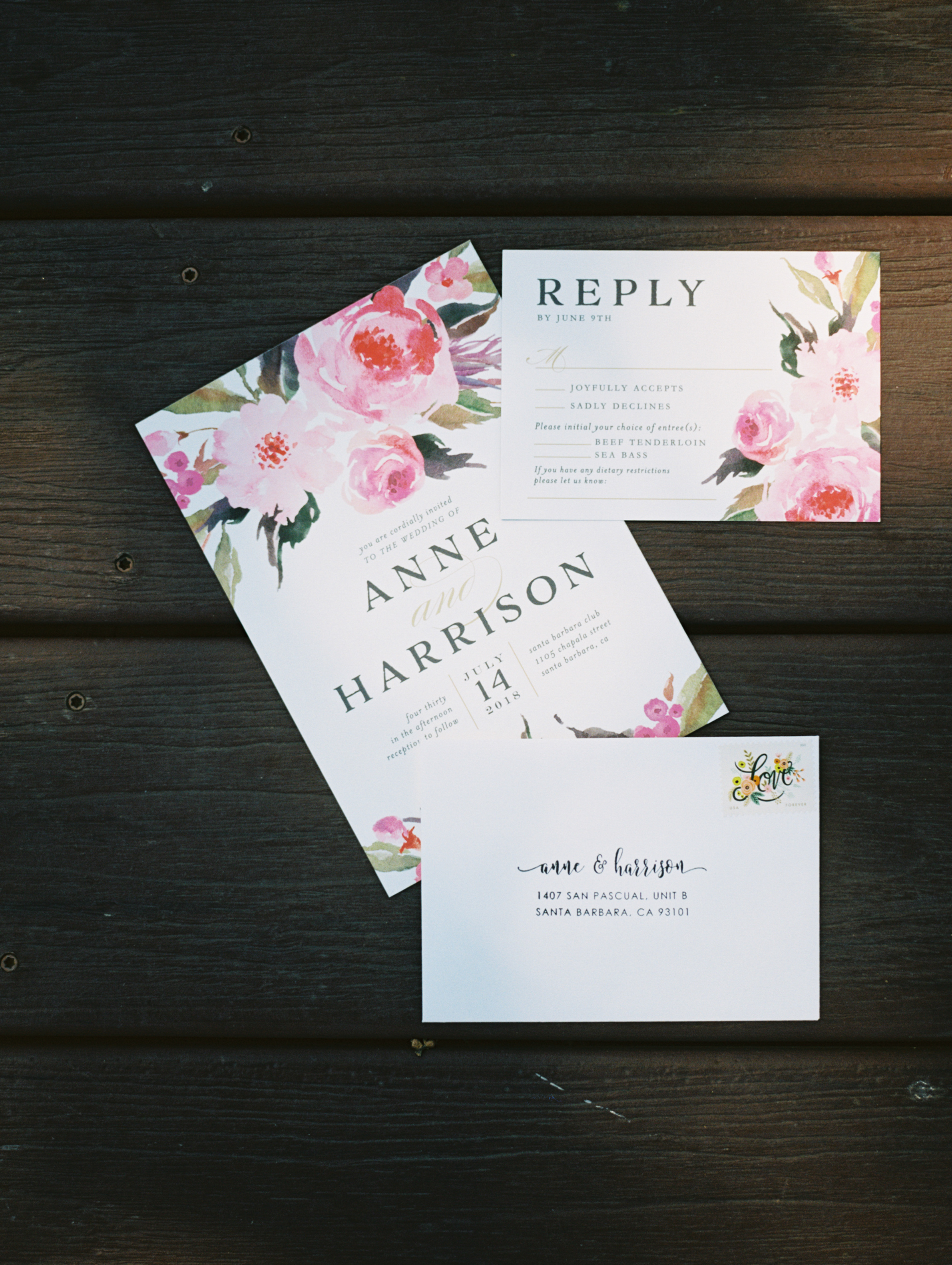www.santabarbarawedding.com | Ryanne Bee Photography | The Santa Barbara Club | Wedding Invitations