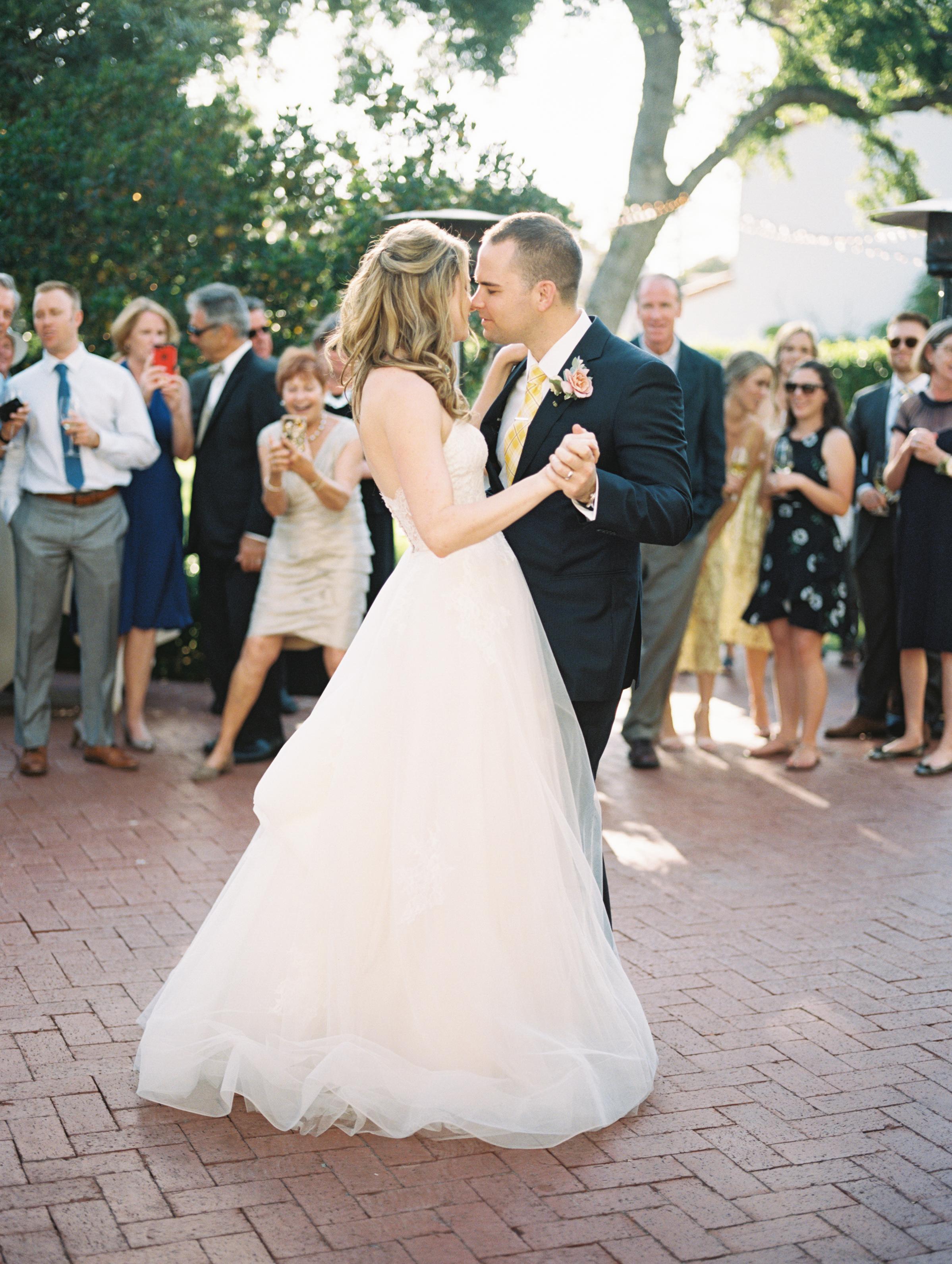 www.santabarbarawedding.com | Ryanne Bee Photography | The Santa Barbara Club | The Wedding Expert DJ | Bride and Groom Share First Dance