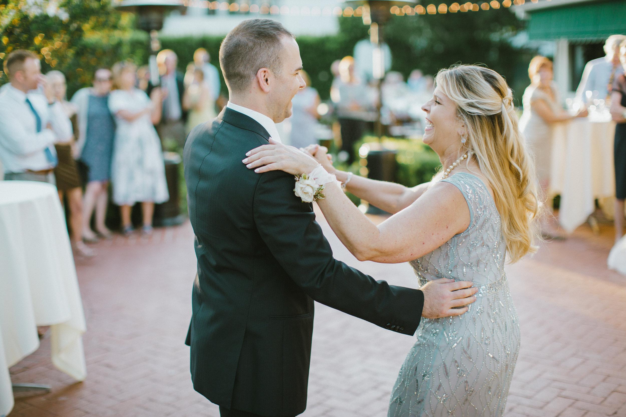 www.santabarbarawedding.com | Ryanne Bee Photography | The Santa Barbara Club | The Wedding Expert DJ | Groom Shares a Dance with His Mom