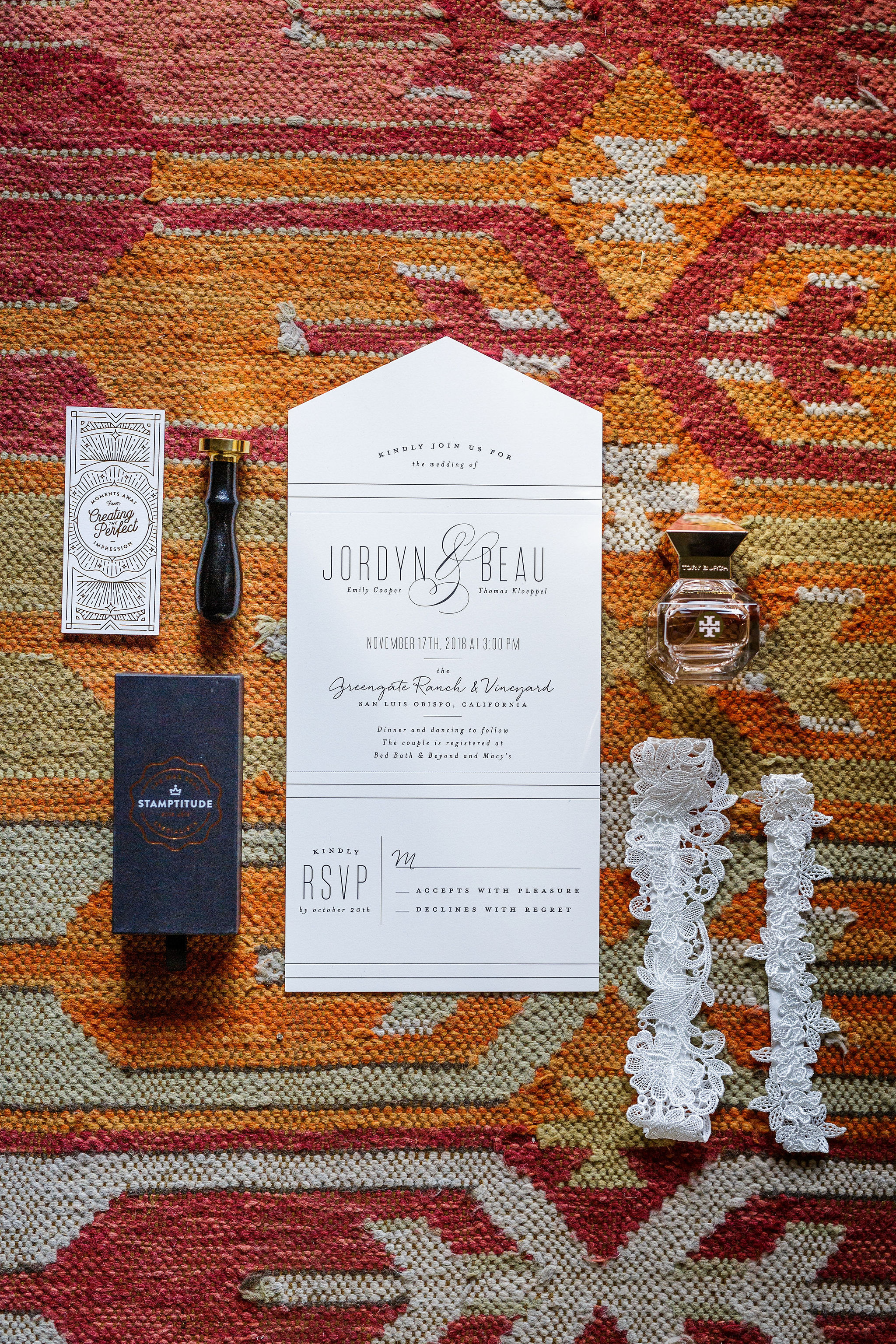 www.santabarbarawedding.com | Kiel Rucker | Greengate Ranch | Kramer Events | Minted | Wedding Invitation and Bride's Garter
