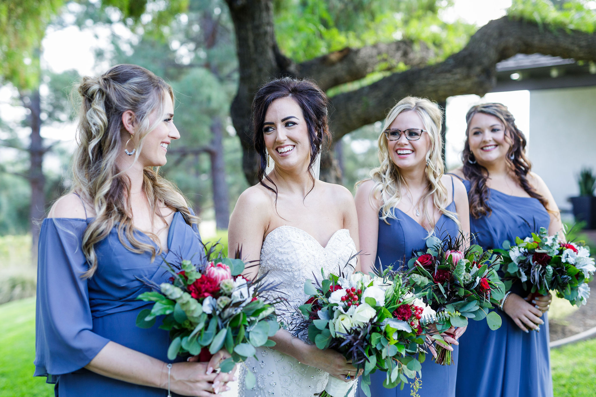 www.santabarbarawedding.com | Kiel Rucker | Greengate Ranch | Kramer Events | De La Fleur Flowers | Bianca's Bridal | Bride with Bridesmaids