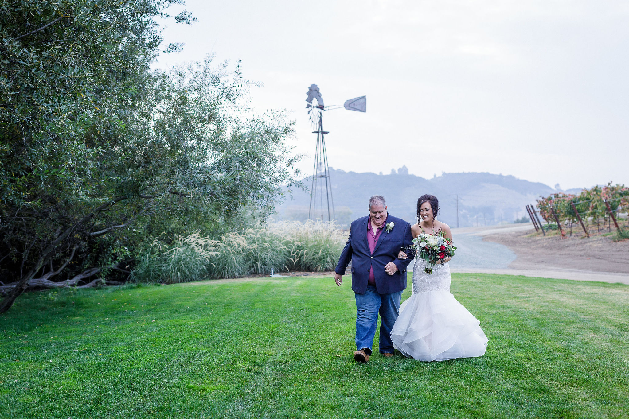 www.santabarbarawedding.com | Kiel Rucker | Greengate Ranch | Kramer Events | De La Fleur Flowers | Bianca's Bridal | Father Walks Daughter to Ceremony