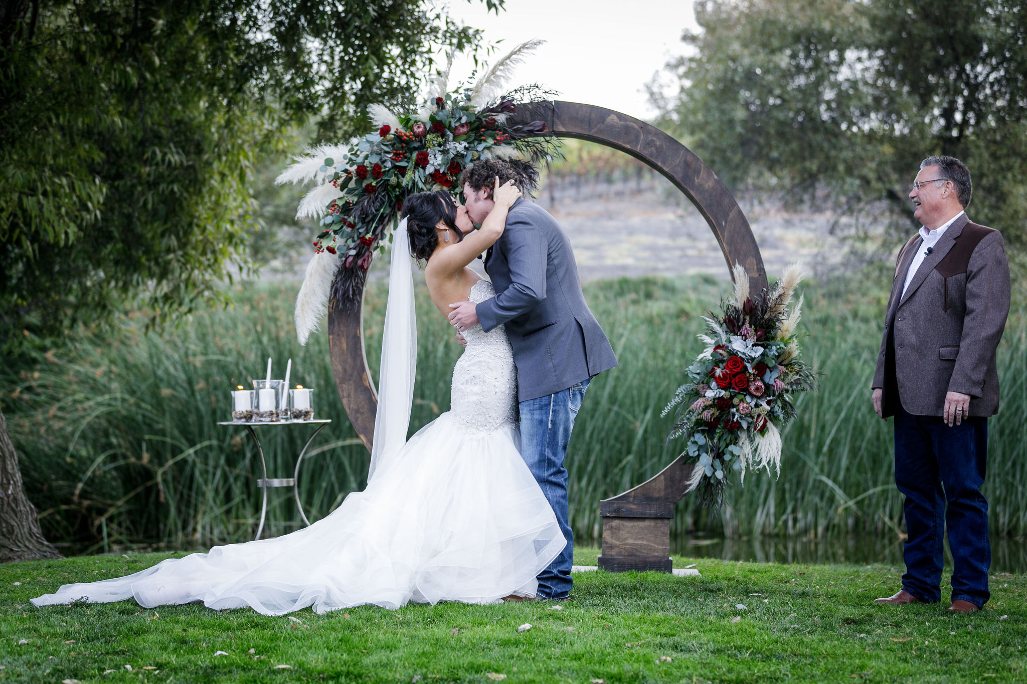 www.santabarbarawedding.com | Kiel Rucker | Greengate Ranch | Kramer Events | All About Events | De La Fleur Flowers | Bride and Groom First Kiss
