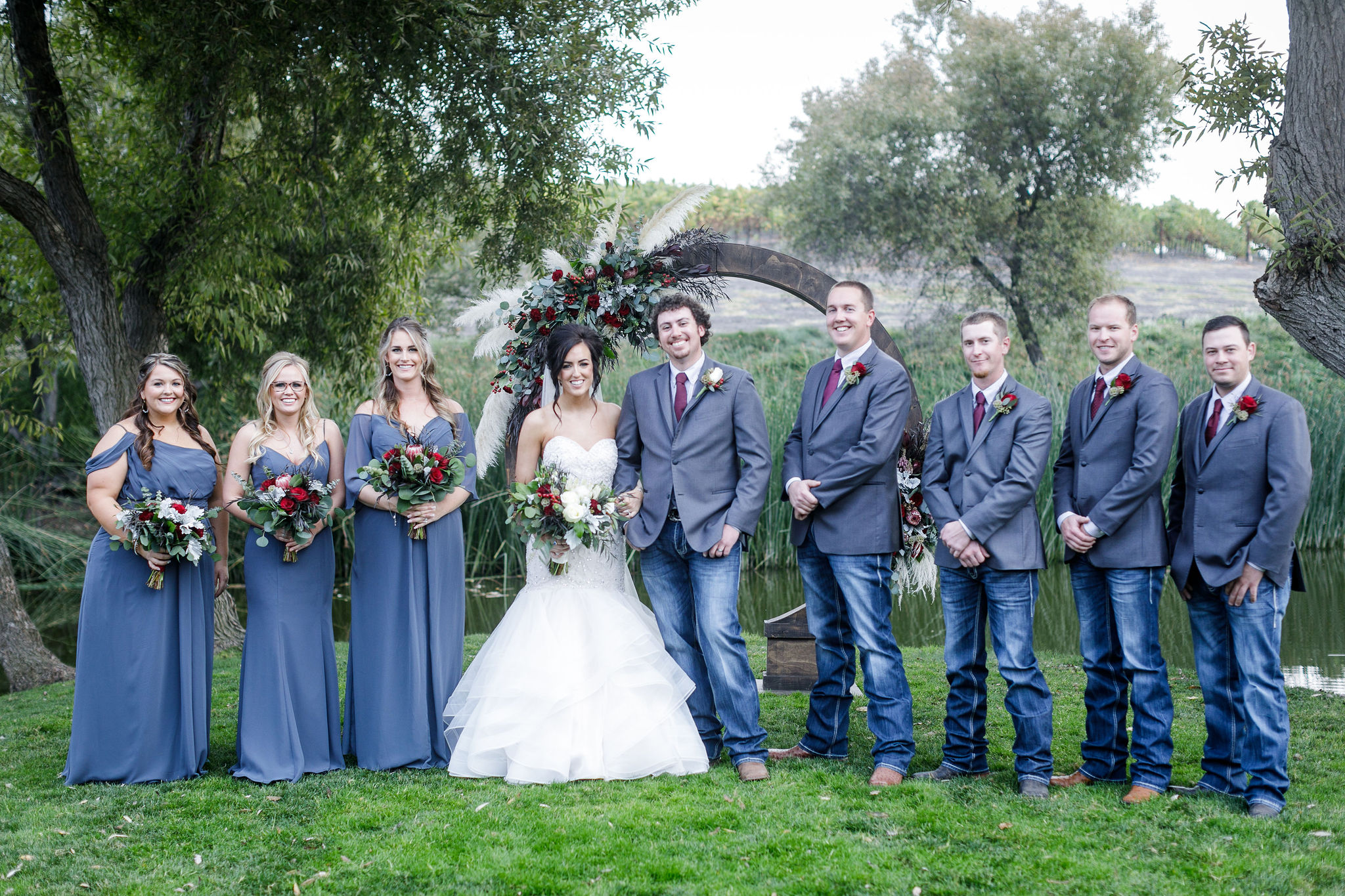 www.santabarbarawedding.com | Kiel Rucker | Greengate Ranch | Kramer Events | De La Fleur Flowers | Couple with Bridal Party