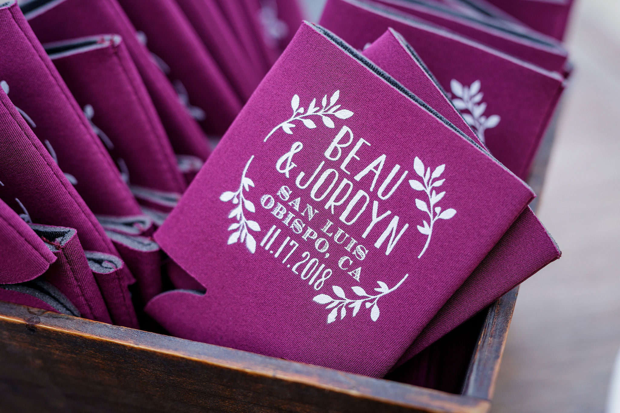 www.santabarbarawedding.com | Kiel Rucker | Greengate Ranch | Kramer Events | Personalized Koozies